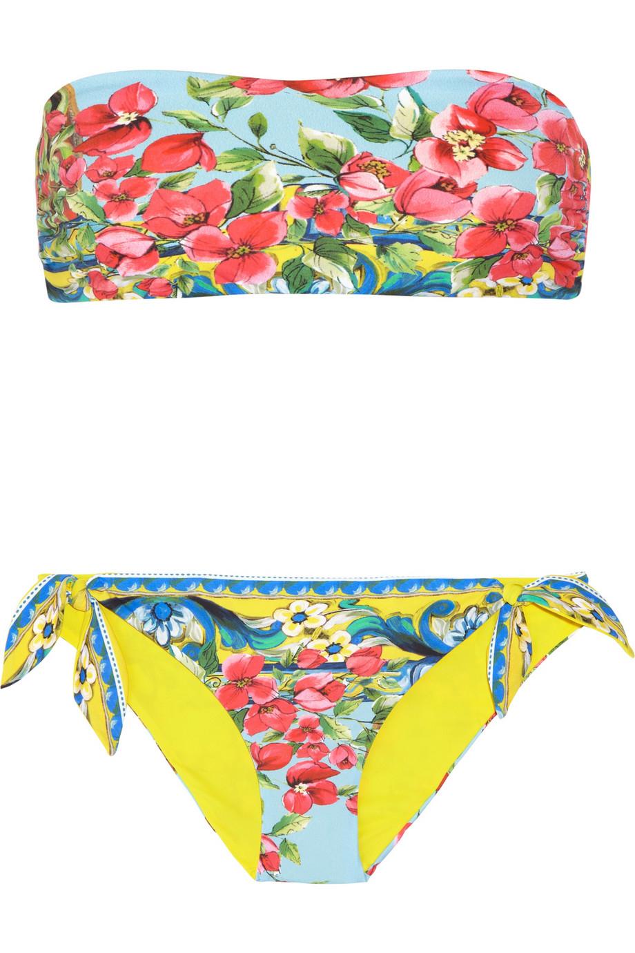 4be0037542061 Dolce & Gabbana Floral Print Reversible Bandeau Bikini in Pink - Lyst