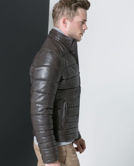 4ee9bd33 Zara Quilted Leather Jacket in Gray for Men (Grey)