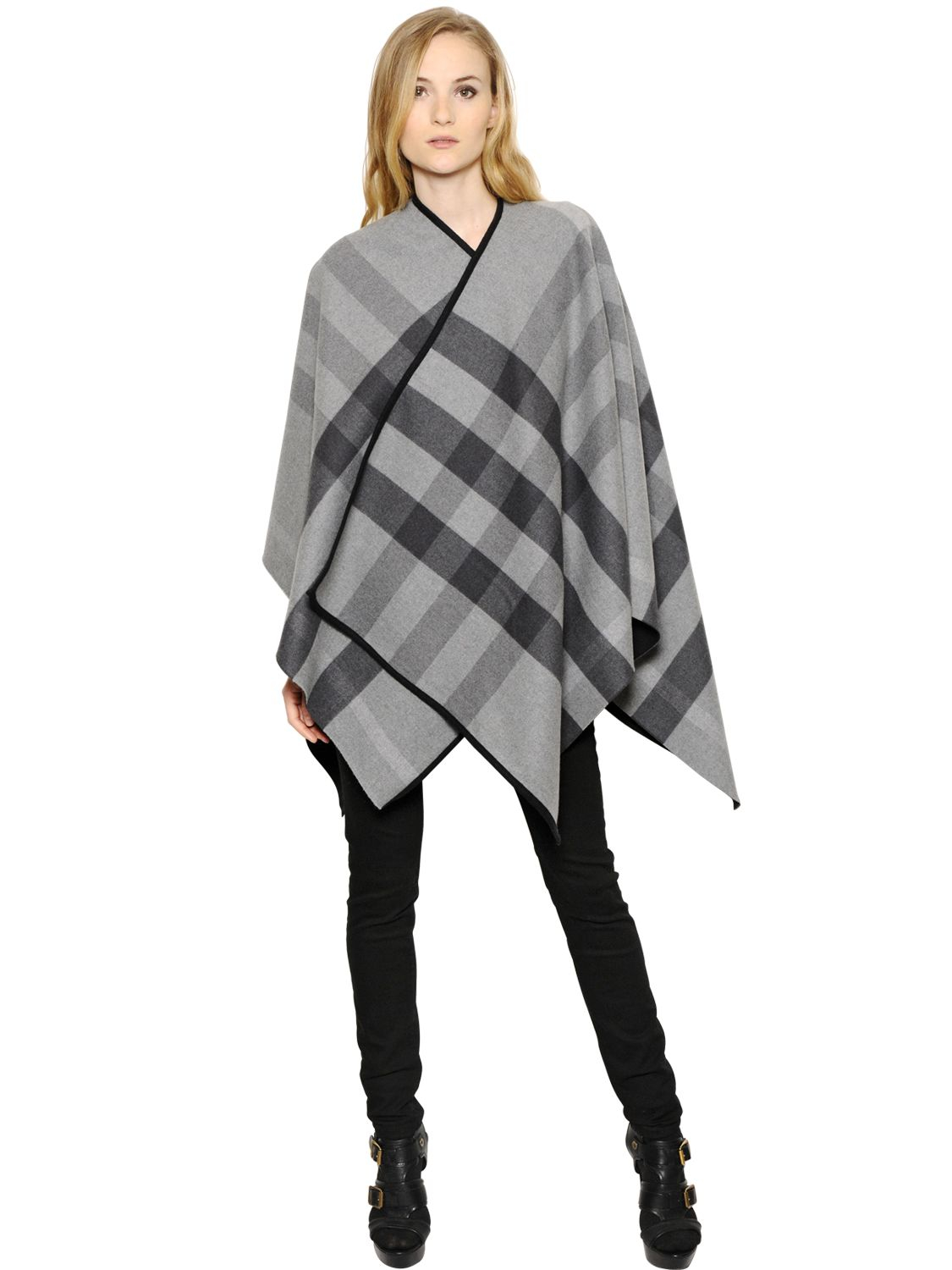 afecb30de Burberry Reversible Check Merino Wool Poncho in Gray for Men - Lyst