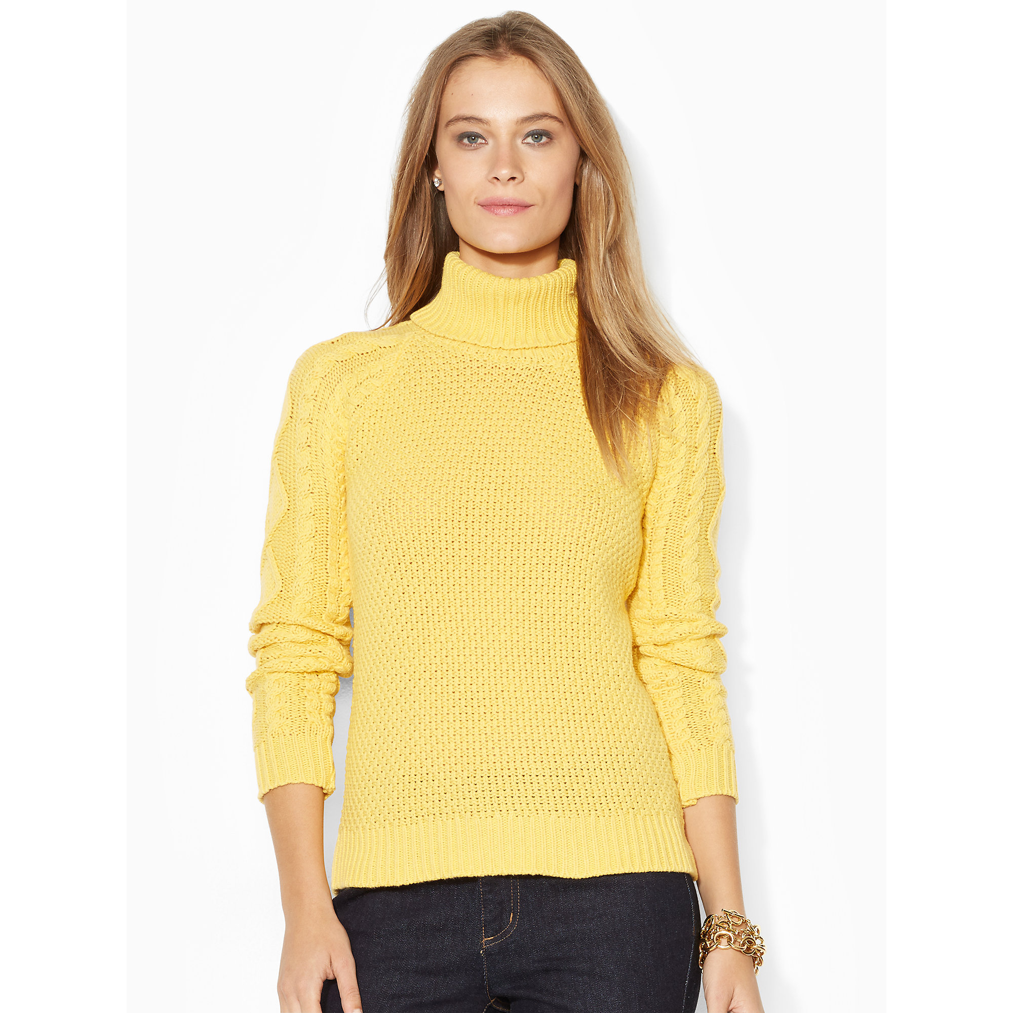 Lauren by ralph lauren Cable-Knit Turtleneck Sweater in Yellow | Lyst