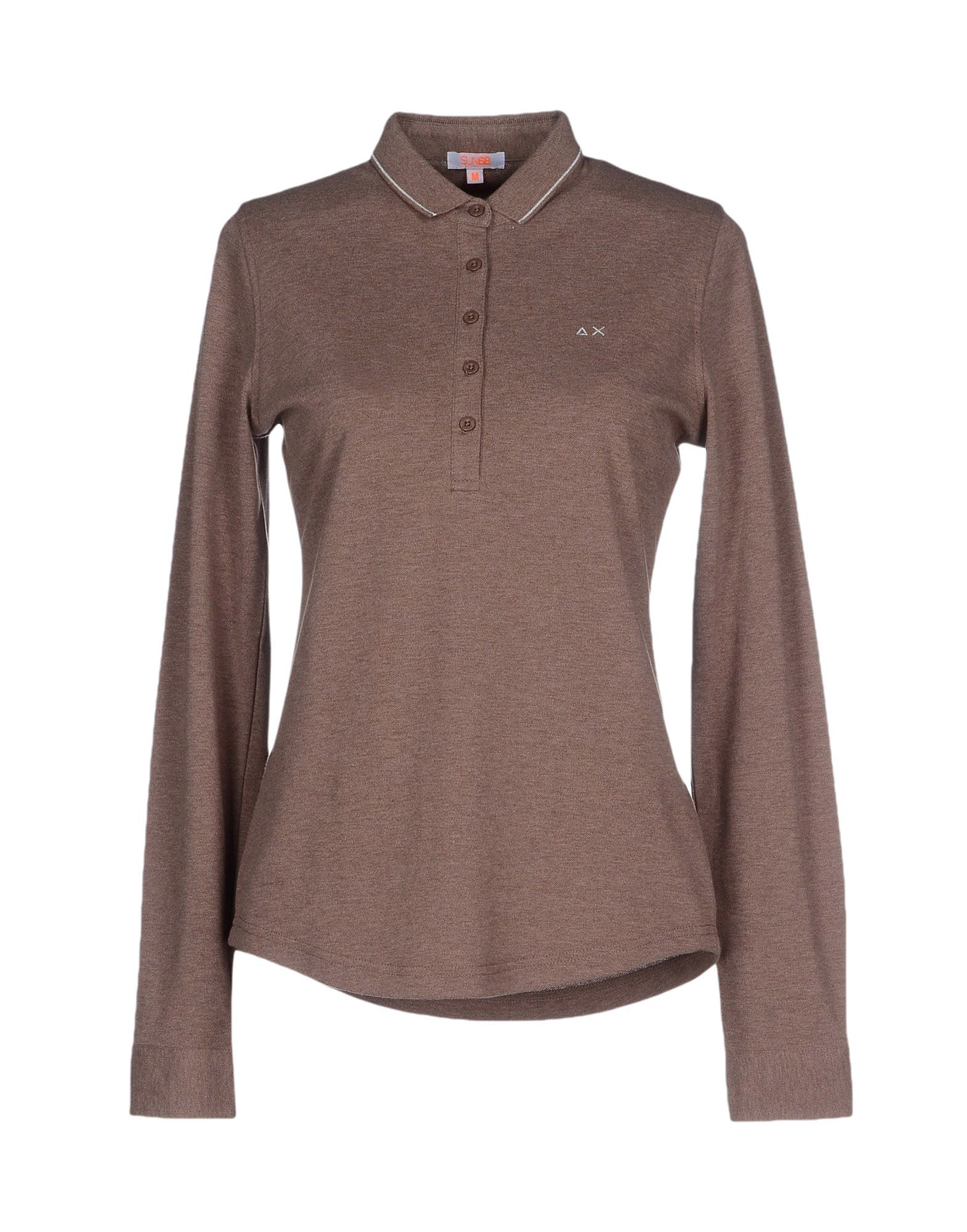 Sun 68 polo shirt in brown lyst for Light brown polo shirt