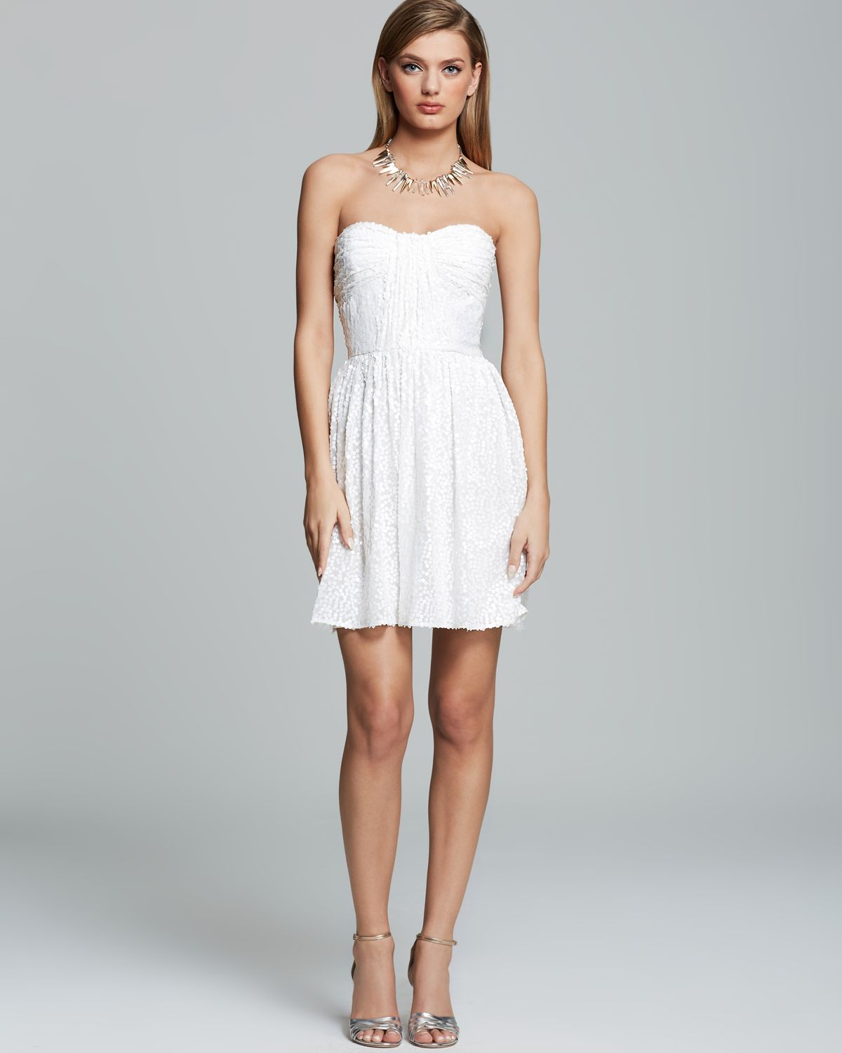 Jill jill stuart Dress - Strapless Ruched Sequin in White  Lyst