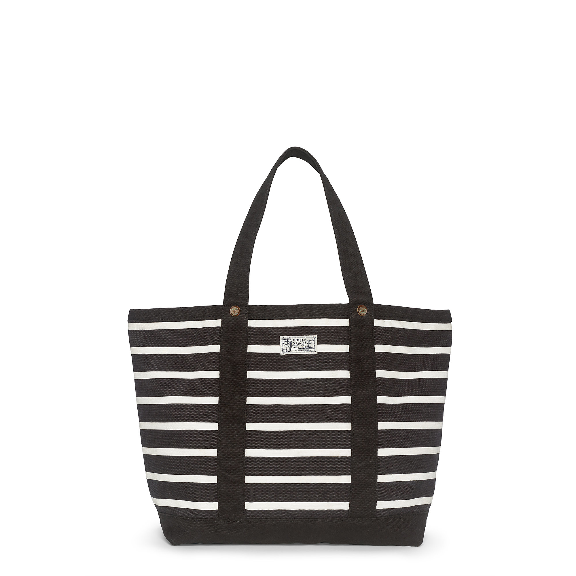 08620c8dfe ... hot lyst polo ralph lauren striped cotton canvas tote in black b9346  29963