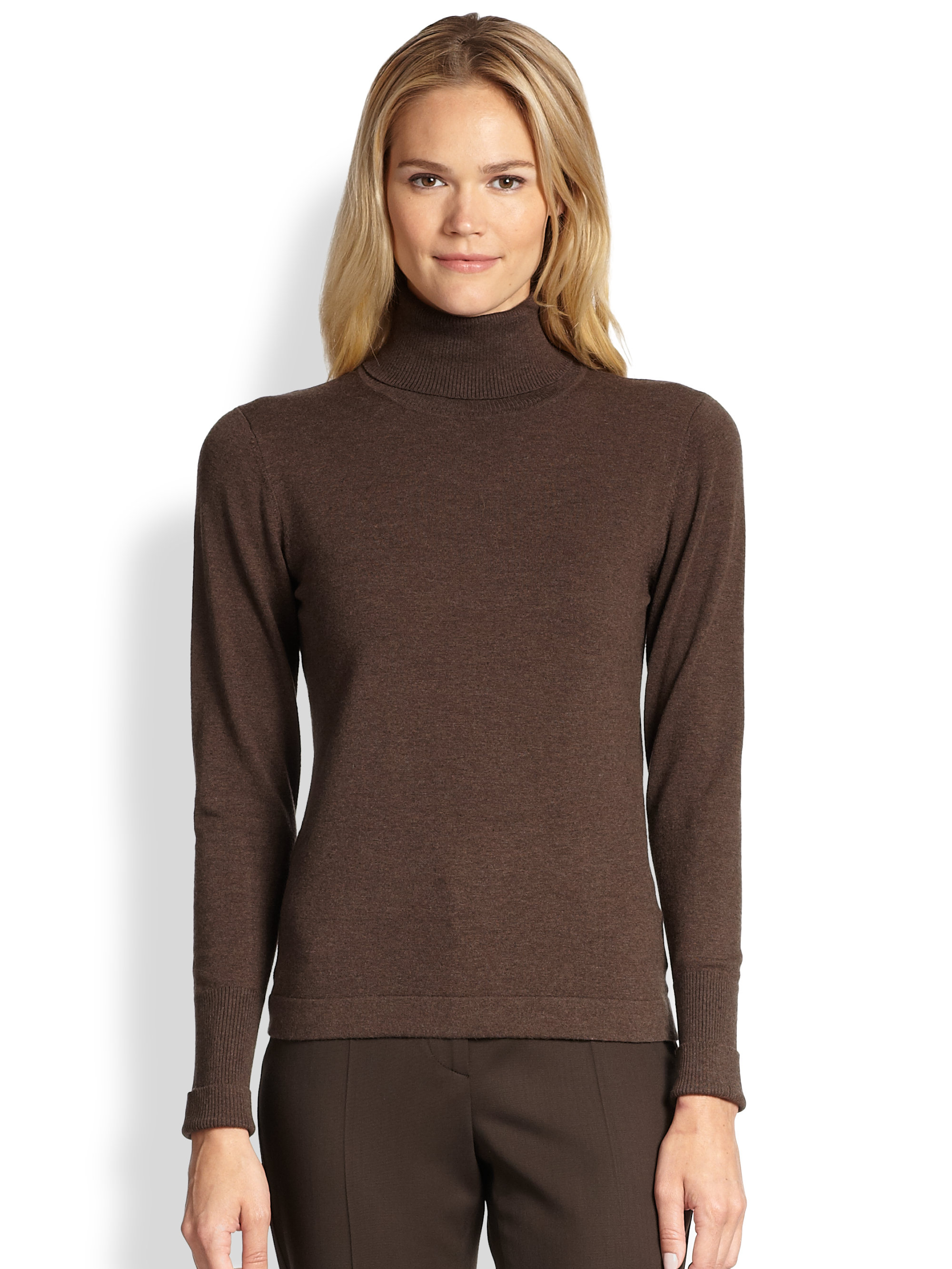 Brown Turtleneck Sweater with Fringe Plus Size Over Size