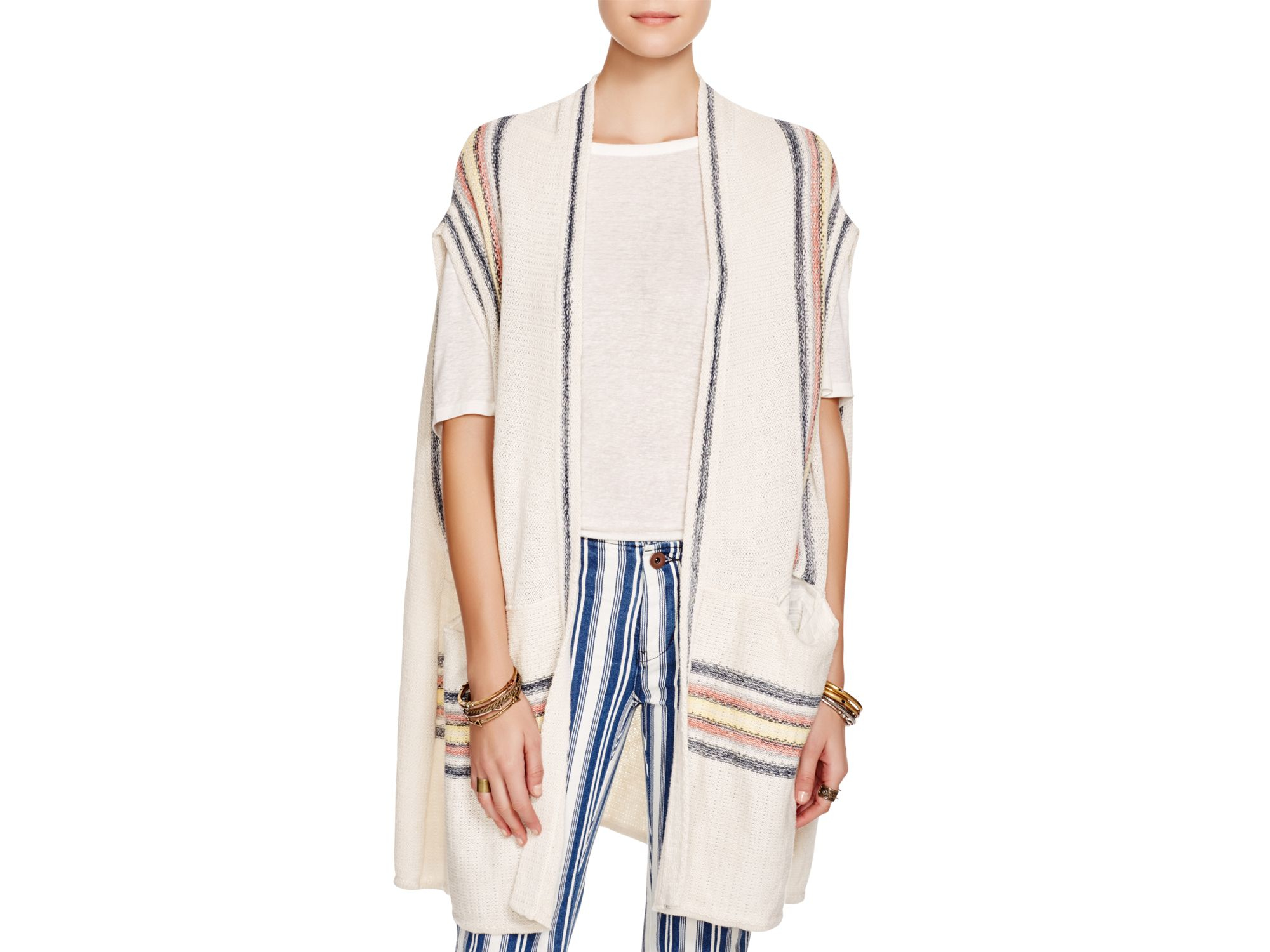 Free people Deck Chair Open Front Sweater Vest in Natural | Lyst