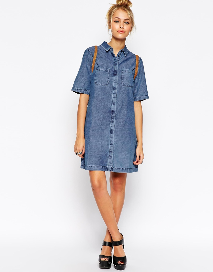 a85c0f7ee6e Lyst - ASOS Denim Shirt Dress With Patch Pocket In Light Mid Wash in ...