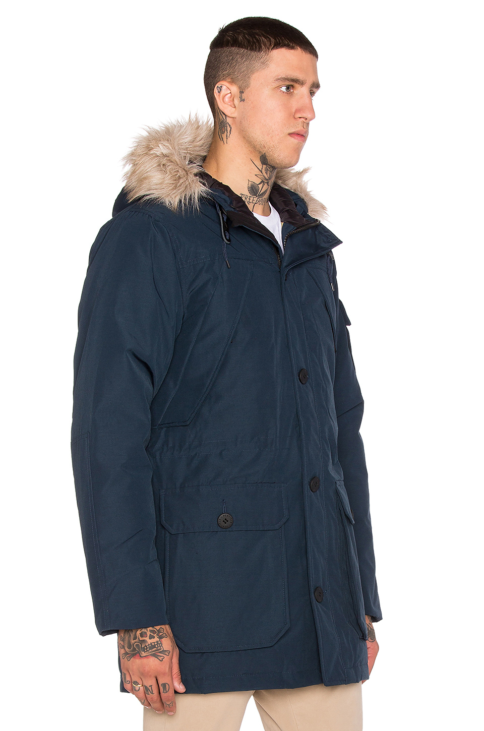 Men's Blue Hoosac Hooded Down Mountain Parka With Faux Fur