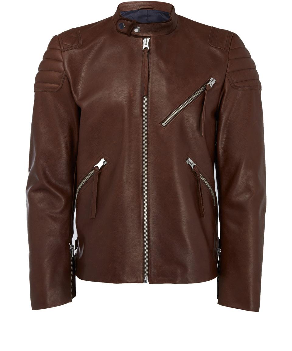 Acne Studios Brown Oliver Leather Biker Jacket in Brown for Men | Lyst