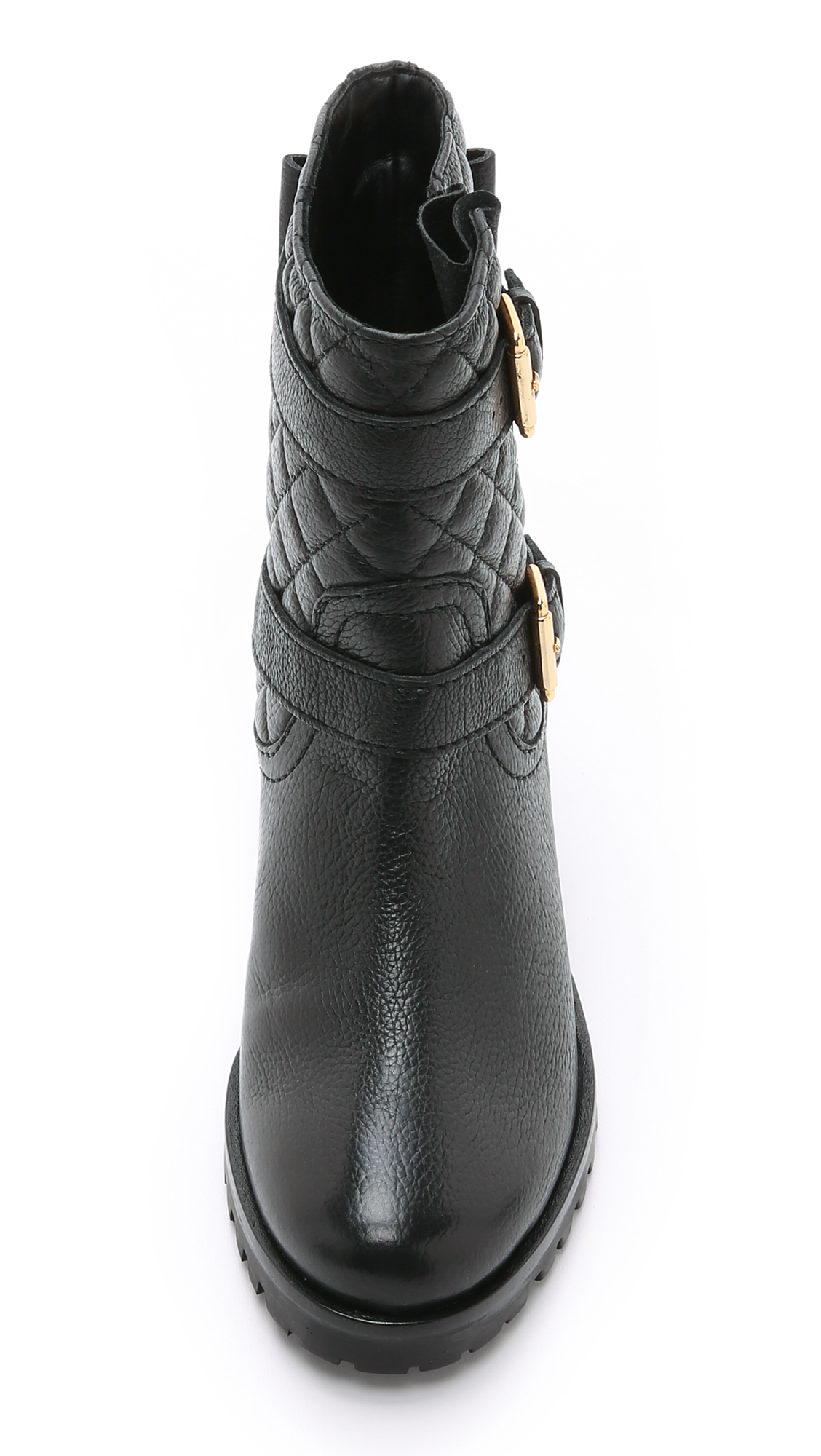 Kate Spade Leather Samara Quilted Moto Boots in Black/Black (Black)