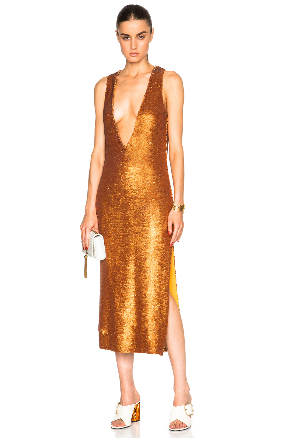 Prabal gurung dusted paillette embroidered dress in orange