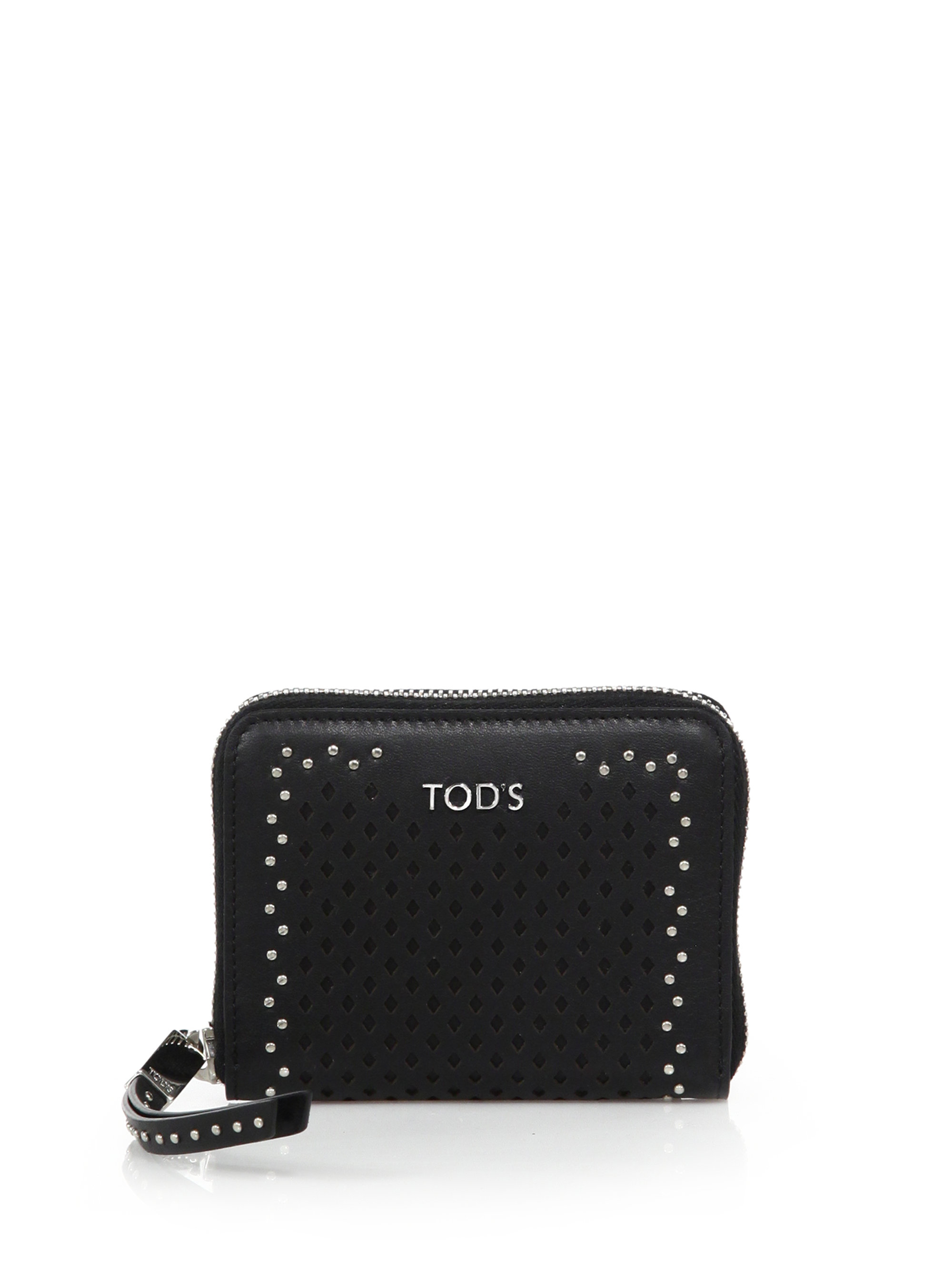 dc0946d23c8 Tod's Small Studded Laser-cut Leather Zip Wallet in Black - Lyst
