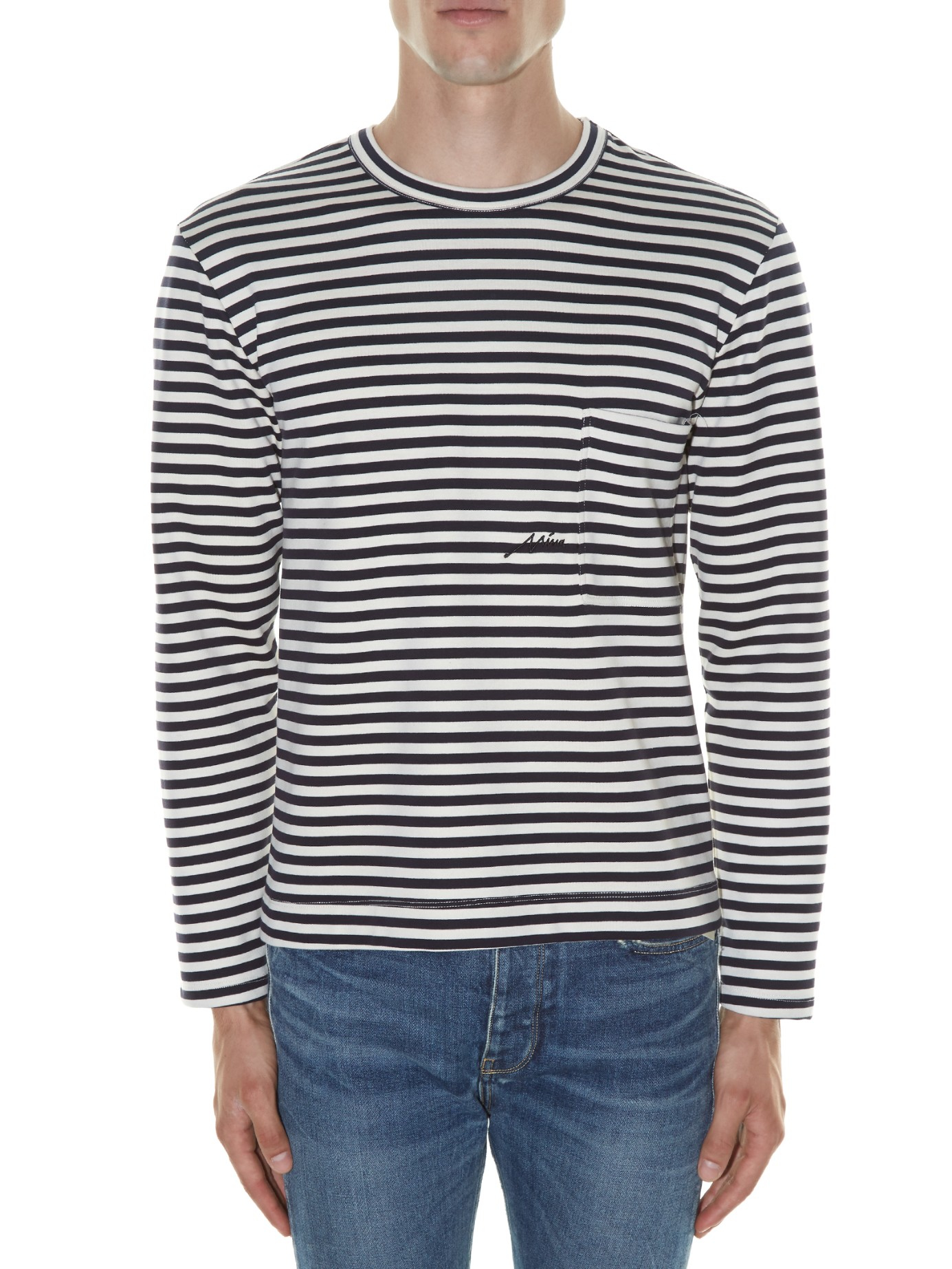 Golden goose deluxe brand wade striped long sleeved t for Navy blue striped long sleeve shirt
