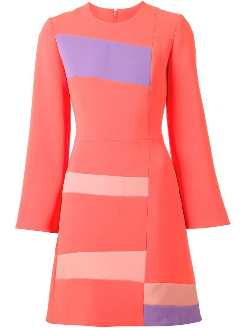 roksanda colour block a line dress in pink lyst. Black Bedroom Furniture Sets. Home Design Ideas