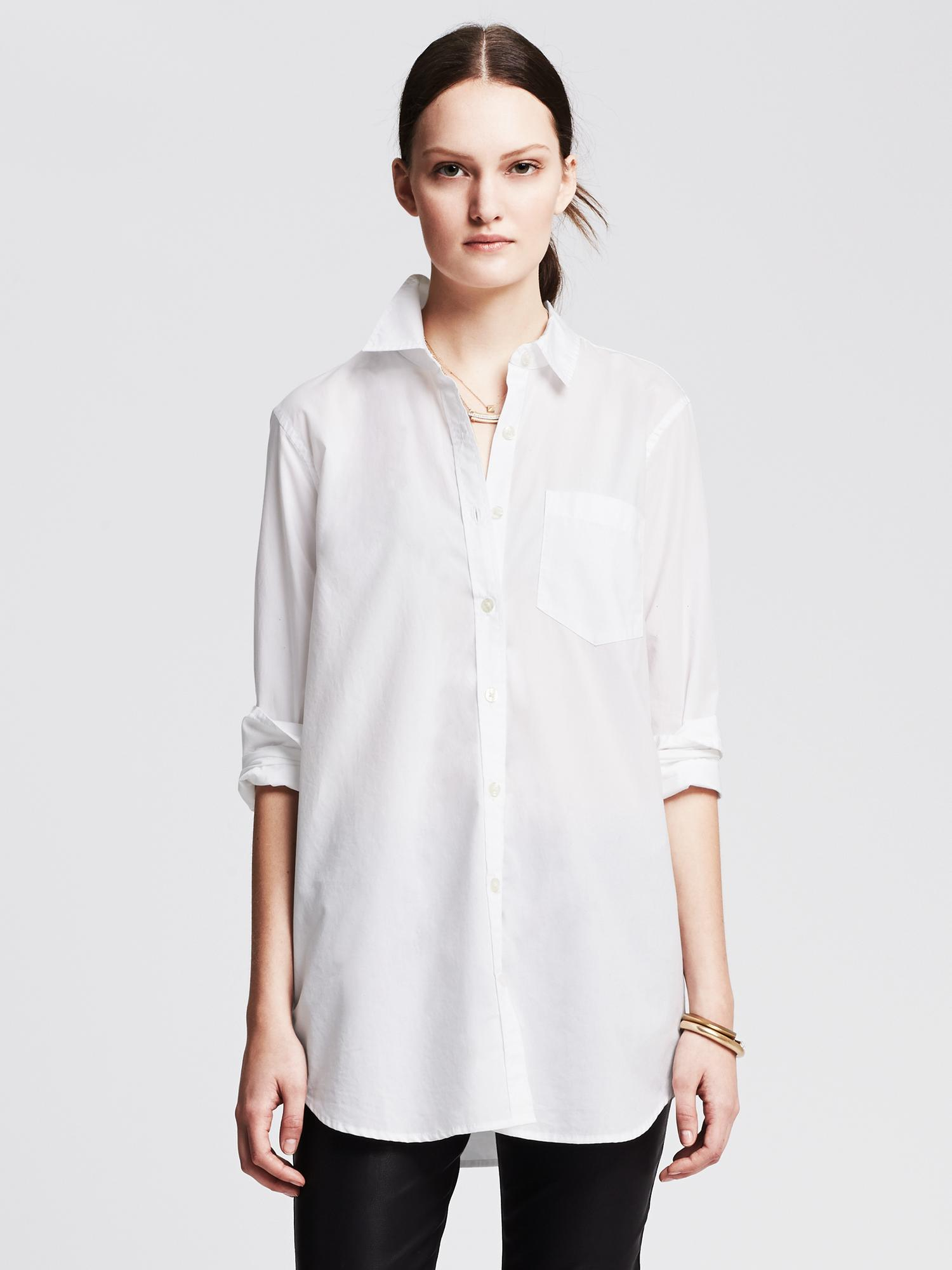 lyst banana republic boyfriend shirt in white. Black Bedroom Furniture Sets. Home Design Ideas
