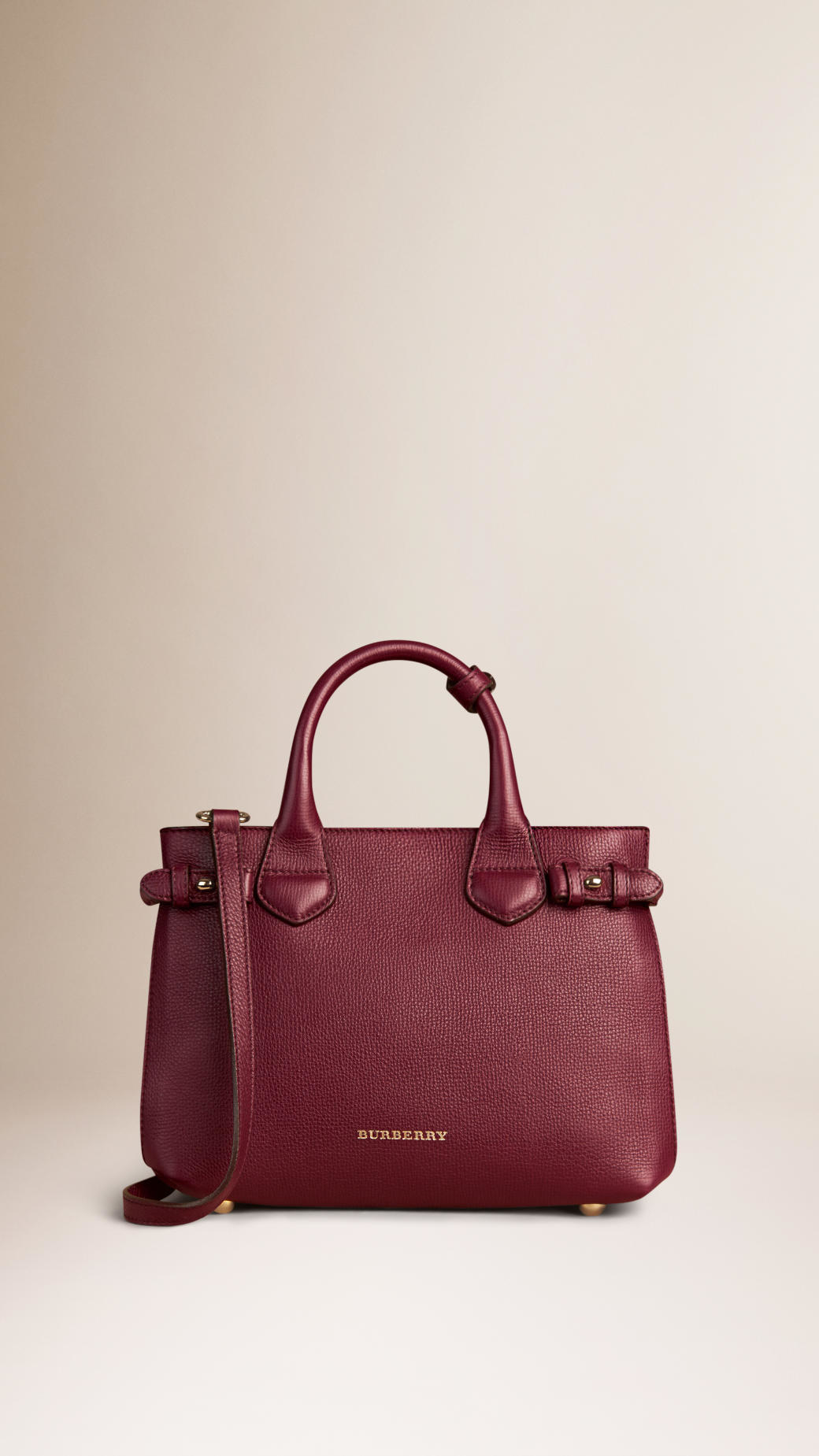 ed1d8f5e1813 Lyst - Burberry The Small Banner In Leather And House Check Mahogany ...