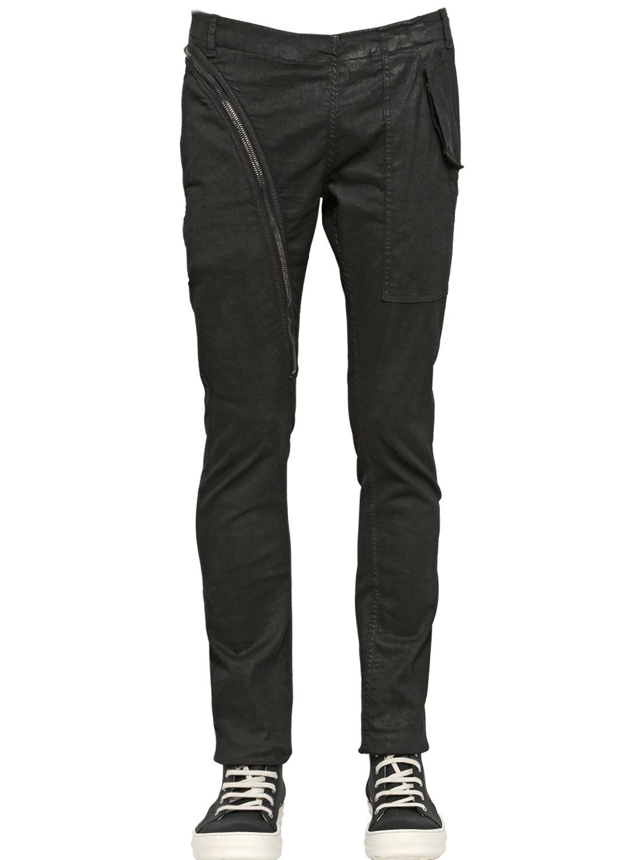 Rick Owens Drkshdw Side Zip Waxed Cotton Pants In Black