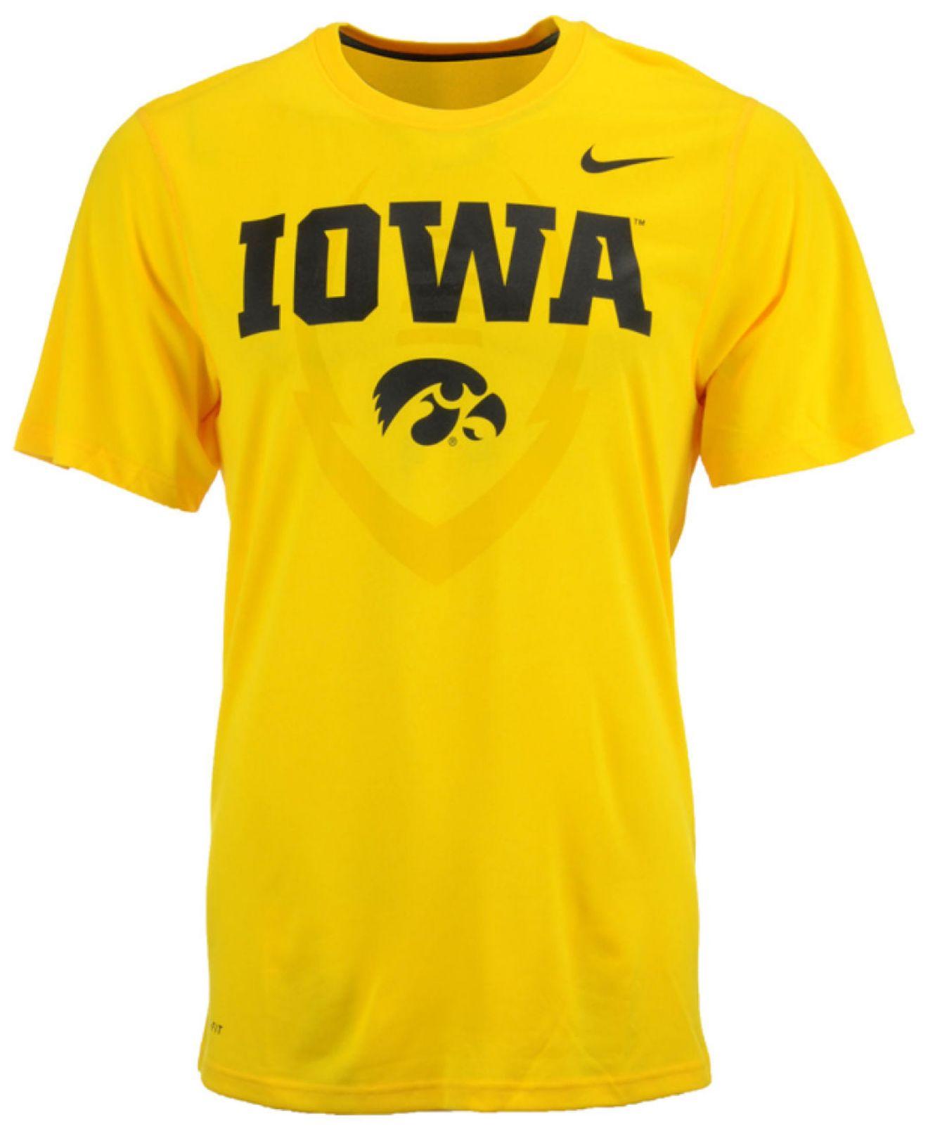 Nike men 39 s iowa hawkeyes legend icon t shirt in metallic for Iowa hawkeye t shirt