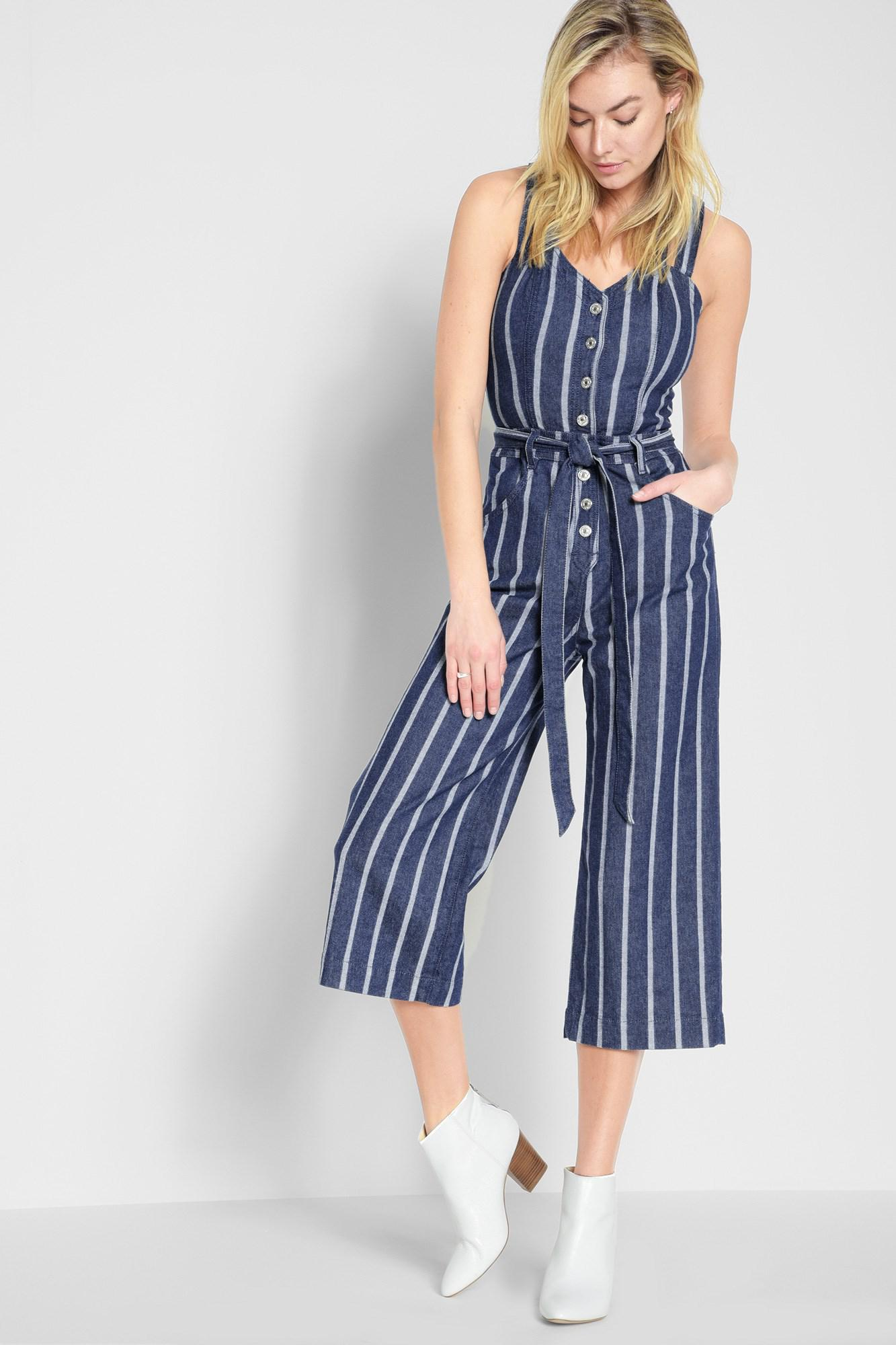 Lyst 7 For All Mankind Button Front Playsuit In Seaside Stripe In Blue
