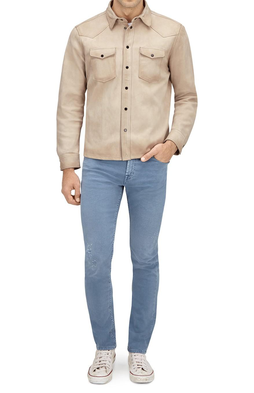 7 For All Mankind Overshirt Jacket Suede Leather Natural Ecru for Men