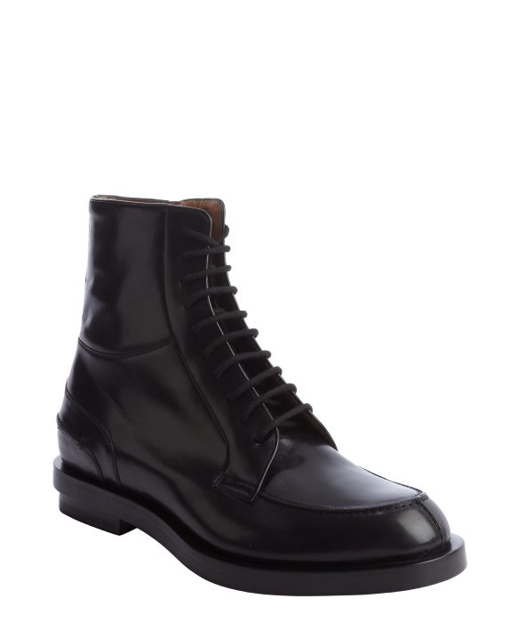 gucci black leather lace up ankle boots in black lyst