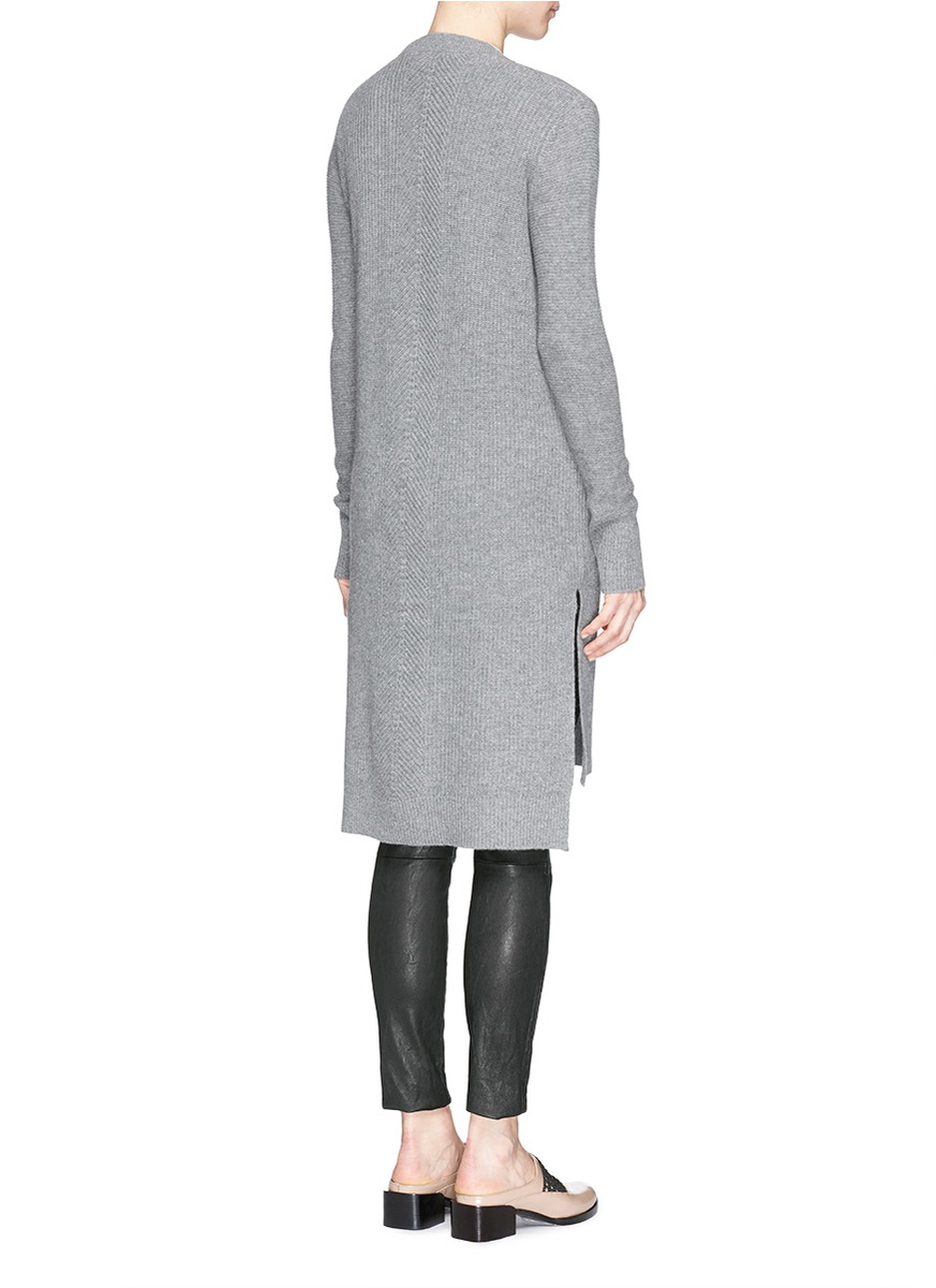 Vince Cashmere Pocket Long Cardigan in Gray | Lyst