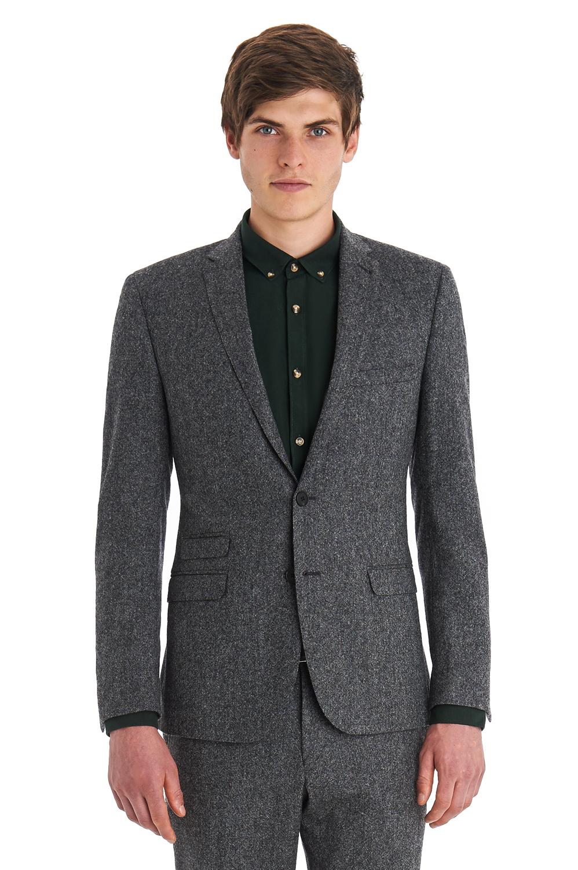 Ben sherman Slim Fit Grey Tweed Jacket in Gray for Men | Lyst