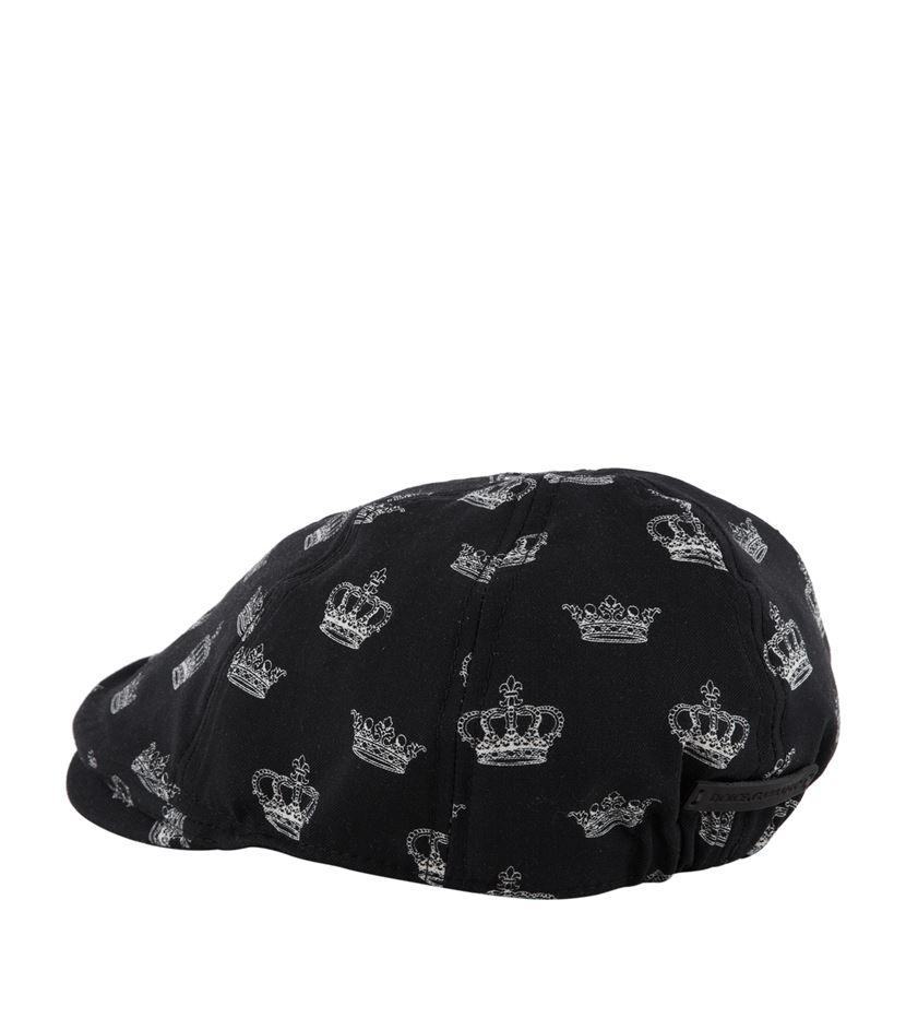 6aa85ac0448cc Dolce   Gabbana Crown Print Flat Cap in Black for Men - Lyst