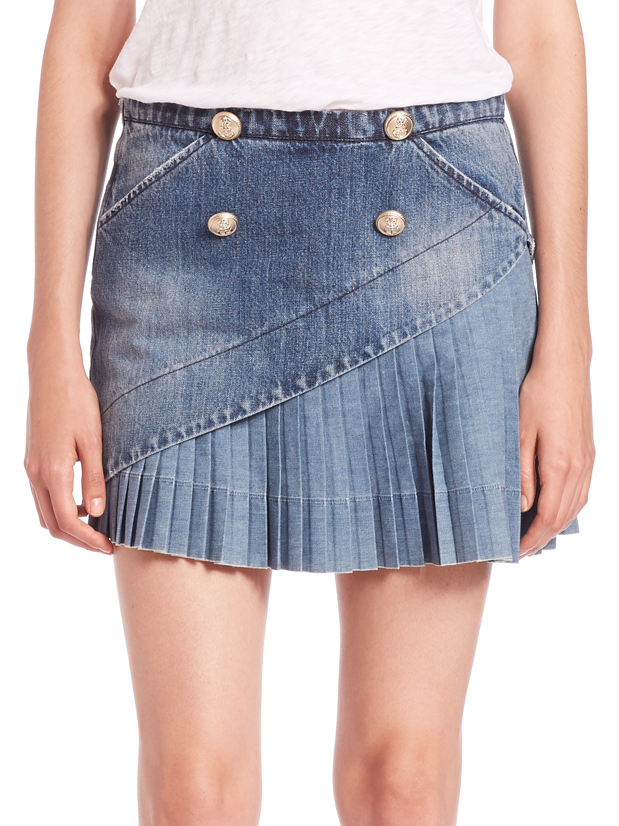 N°21 Gaynor Asymmetrical Pleated Denim Skirt in Blue | Lyst