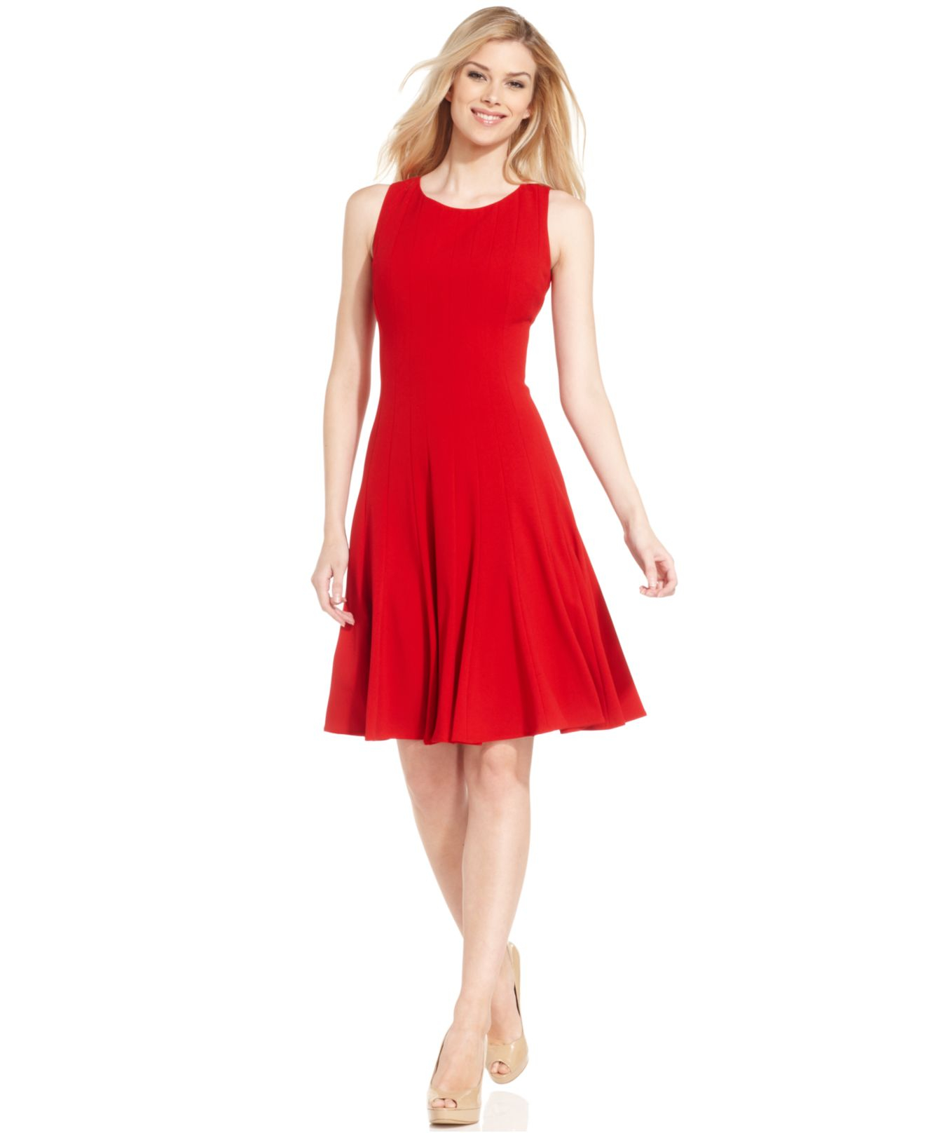 Calvin Klein Sleeveless Pleated A-line Dress In Red | Lyst
