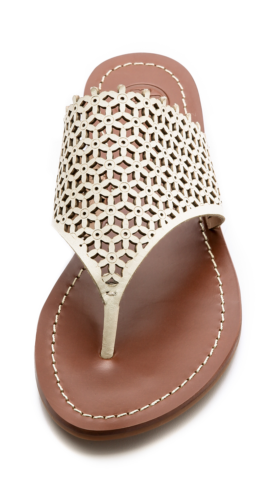 617c6a74c ... cheap tory burch daisy perforated flat thong sandals ivory in white lyst  69142 9019f
