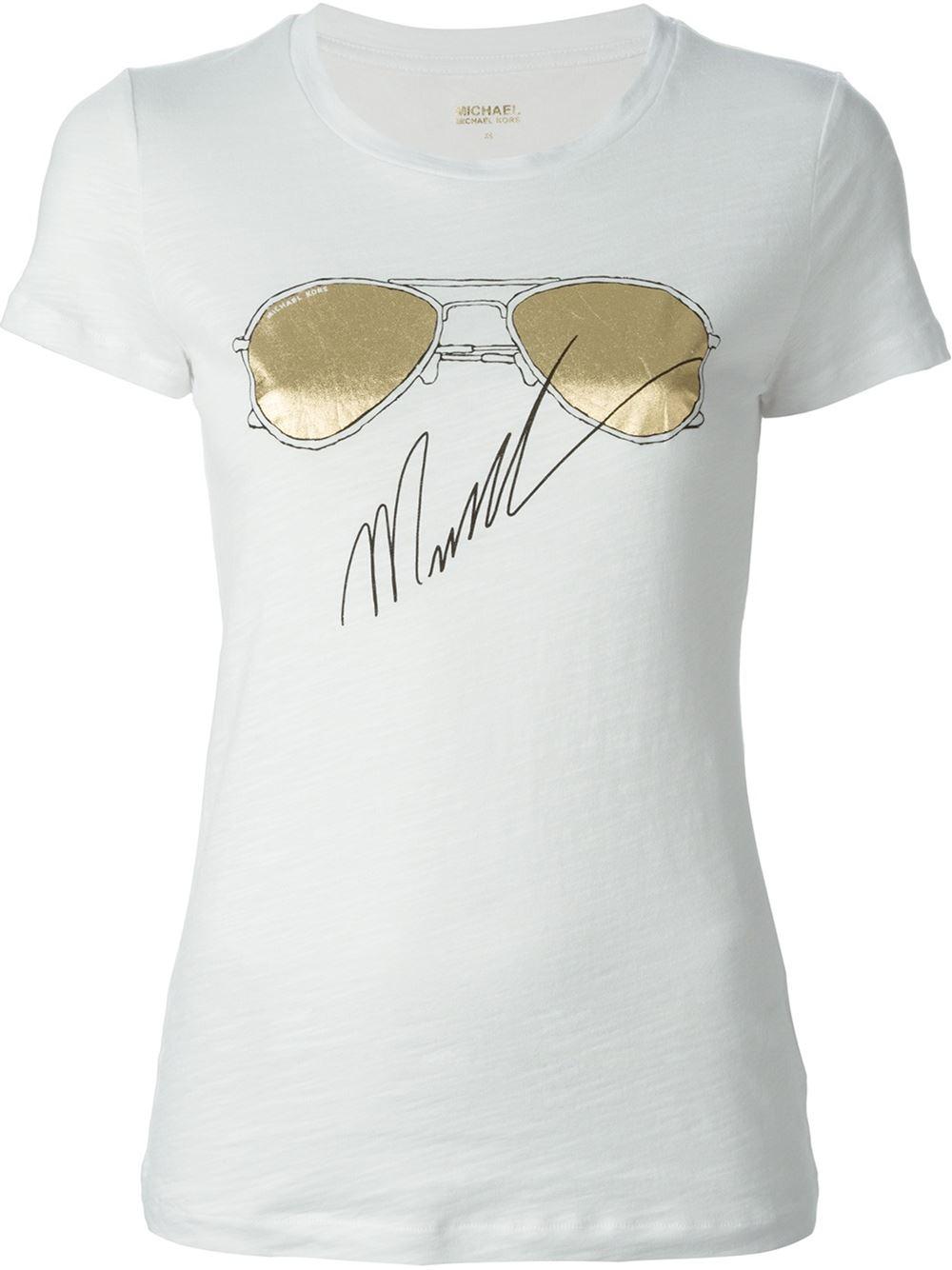 michael michael kors sunglasses print t shirt in white lyst. Black Bedroom Furniture Sets. Home Design Ideas