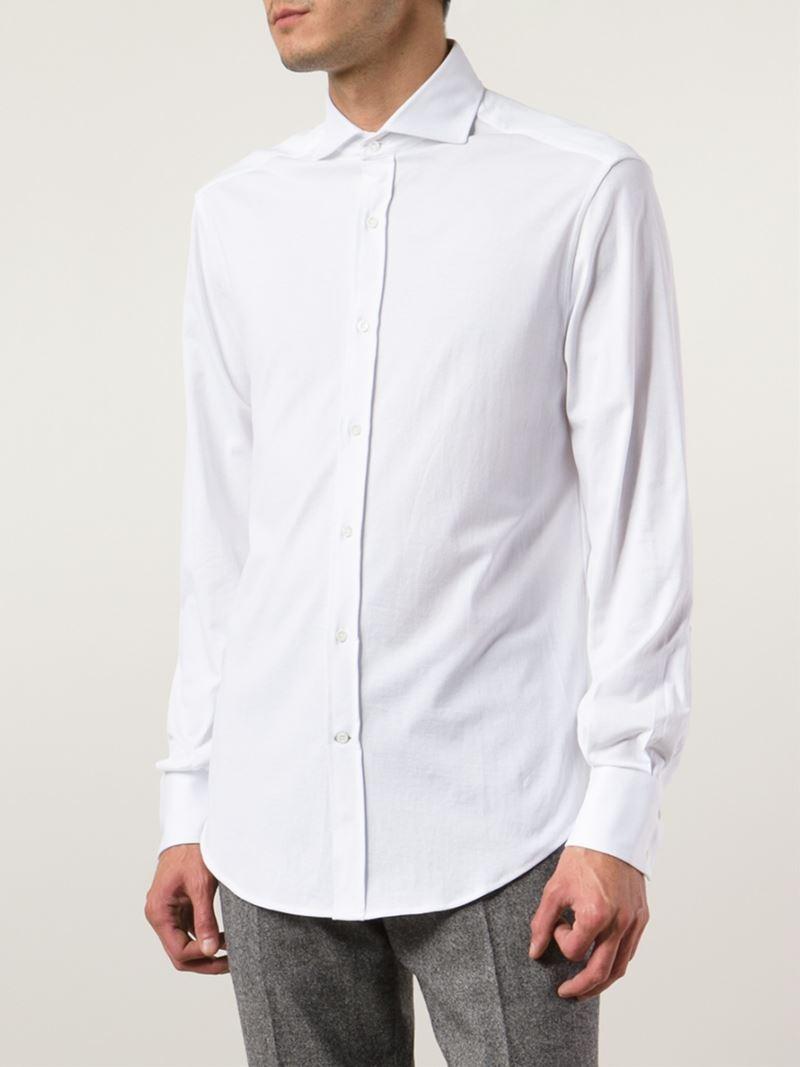 Lyst brunello cucinelli spread collar shirt in white for men for What is a spread collar shirt