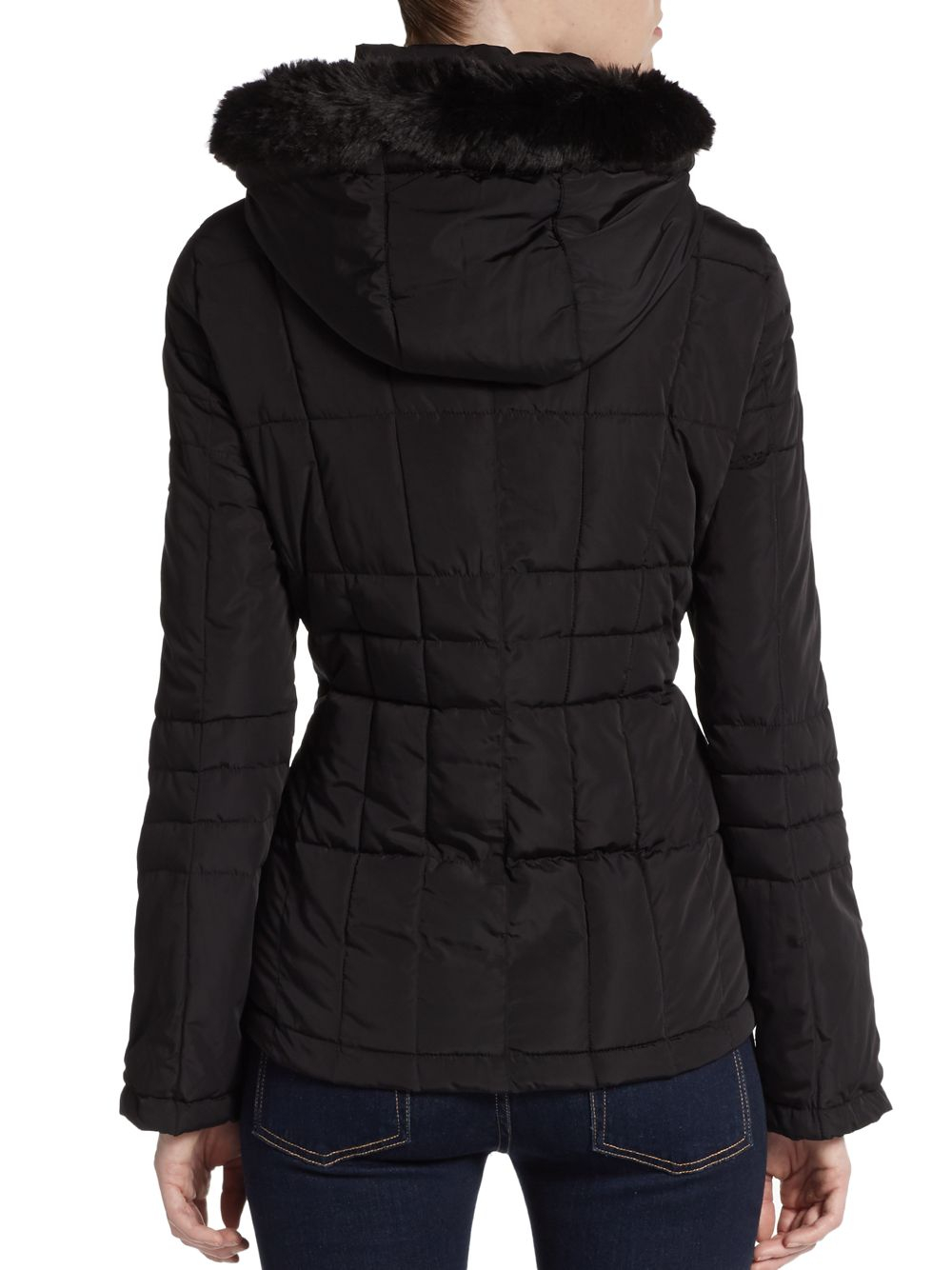 Calvin Klein Hooded Faux Fur Trimmed Puffer Jacket In