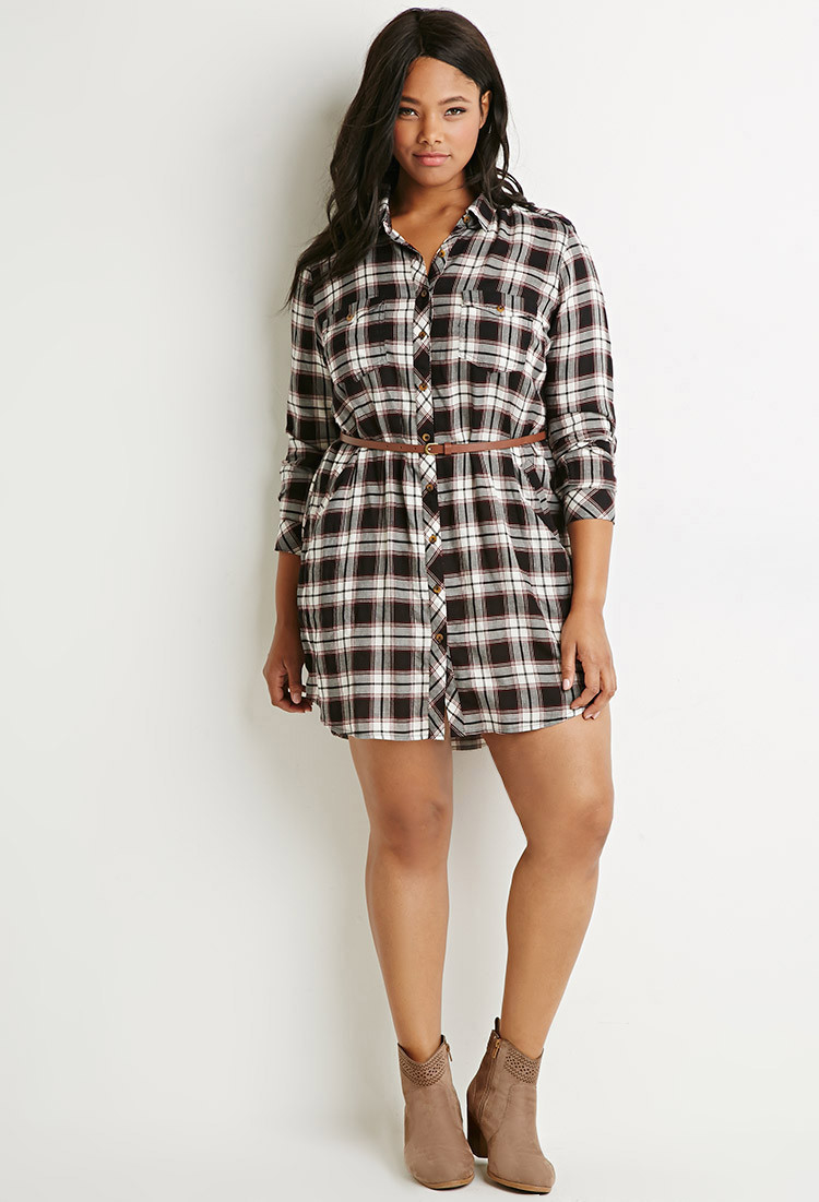Lyst Forever 21 Plus Size Belted Plaid Shirt Dress In Black