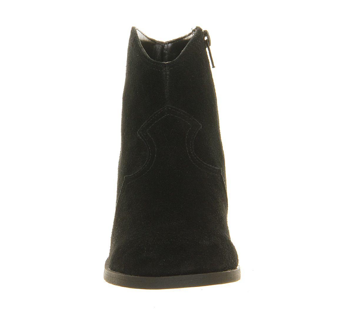 Office Courtney Suede Western Boot in Black Suede (Black)