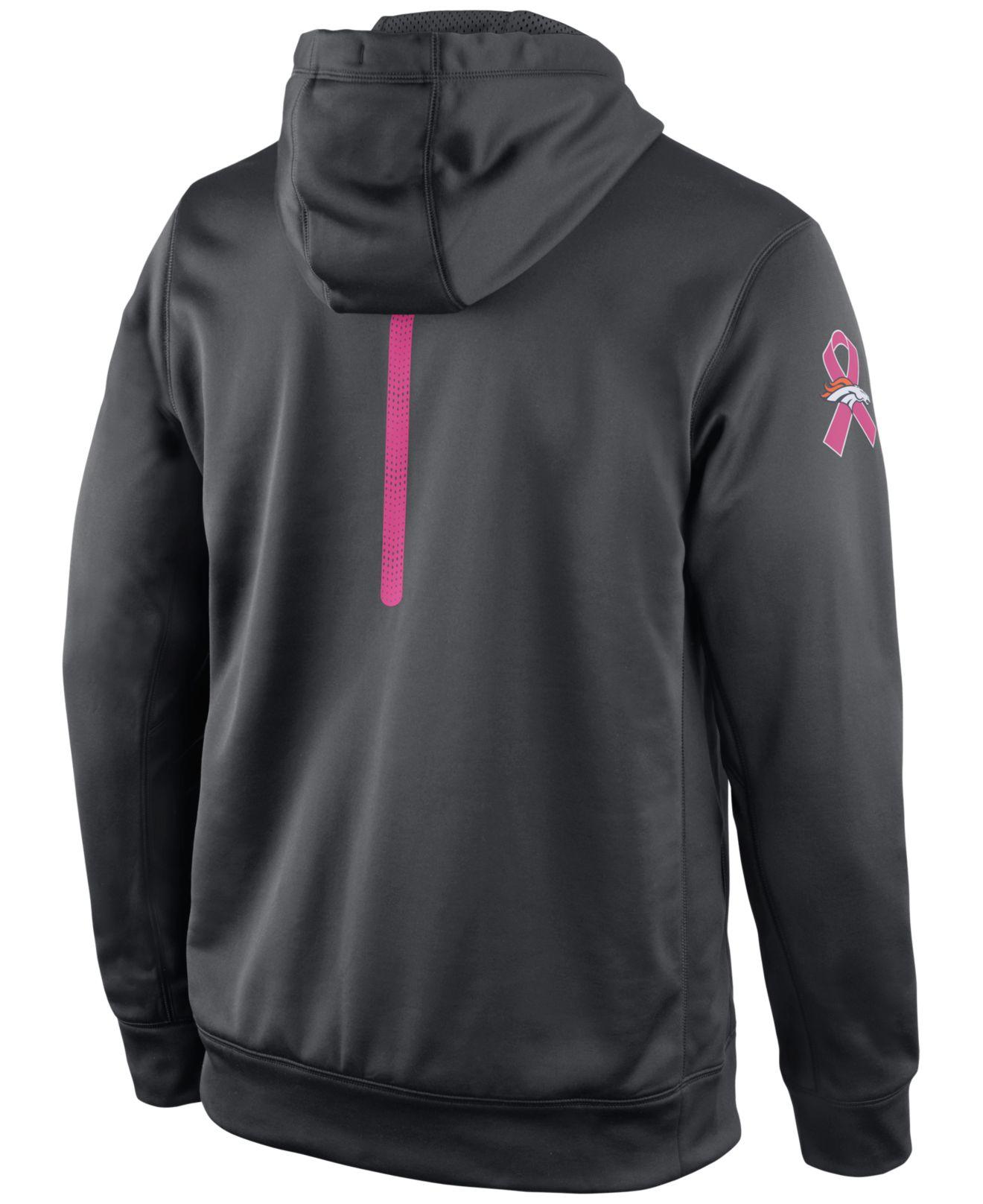 reputable site 332c1 a6afa Gray Men's Denver Broncos Breast Cancer Awareness Ko Hoodie