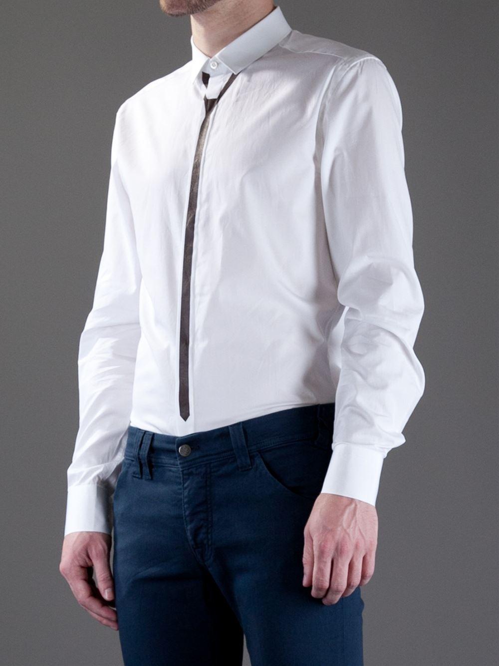 Neil barrett printed tie shirt in white for men lyst for Neil barrett tuxedo shirt