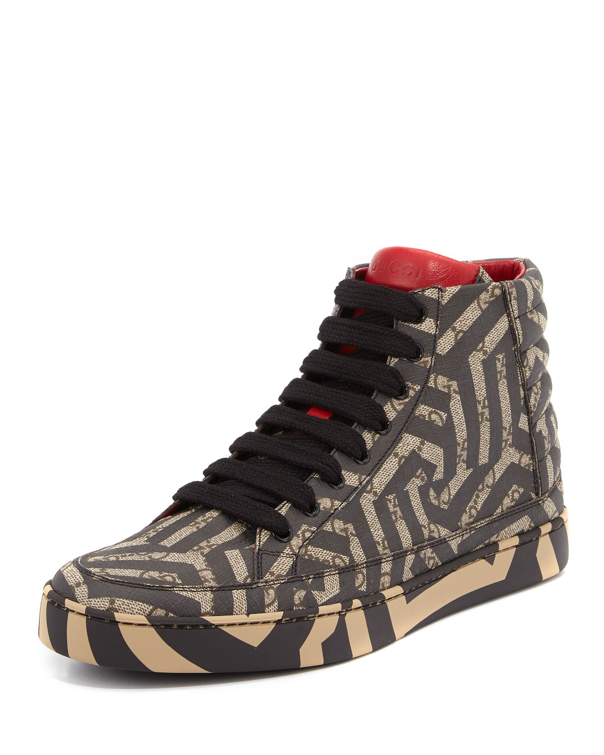 gucci gg caleido canvas high top sneaker in brown lyst. Black Bedroom Furniture Sets. Home Design Ideas