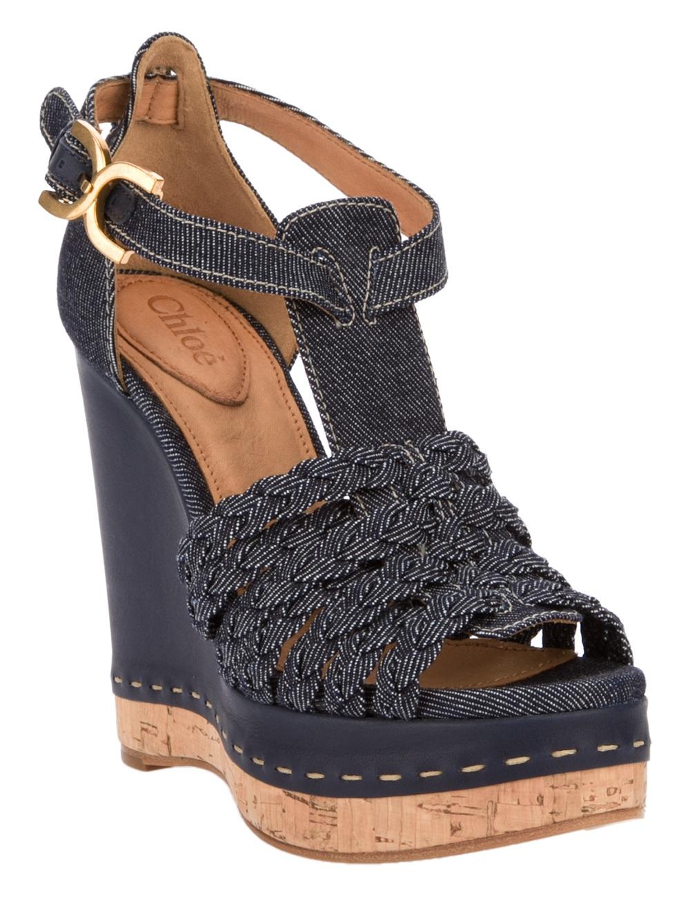Lyst Chlo 233 Denim Wedge Sandal In Blue