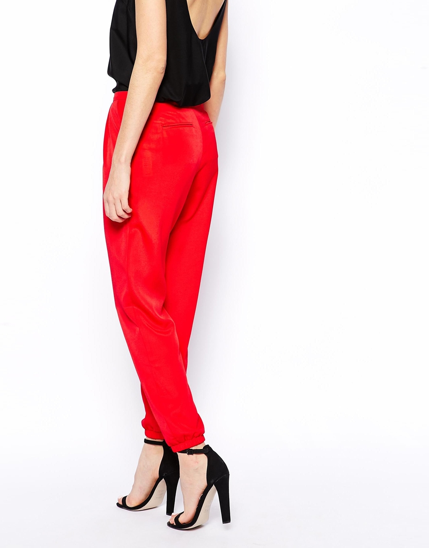 Lyst Asos Pants With Elastic Ankle Detail In Red