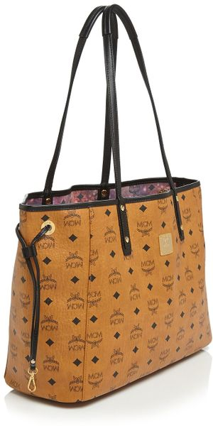 mcm tote shopper project reversible medium in brown cognac space print. Black Bedroom Furniture Sets. Home Design Ideas