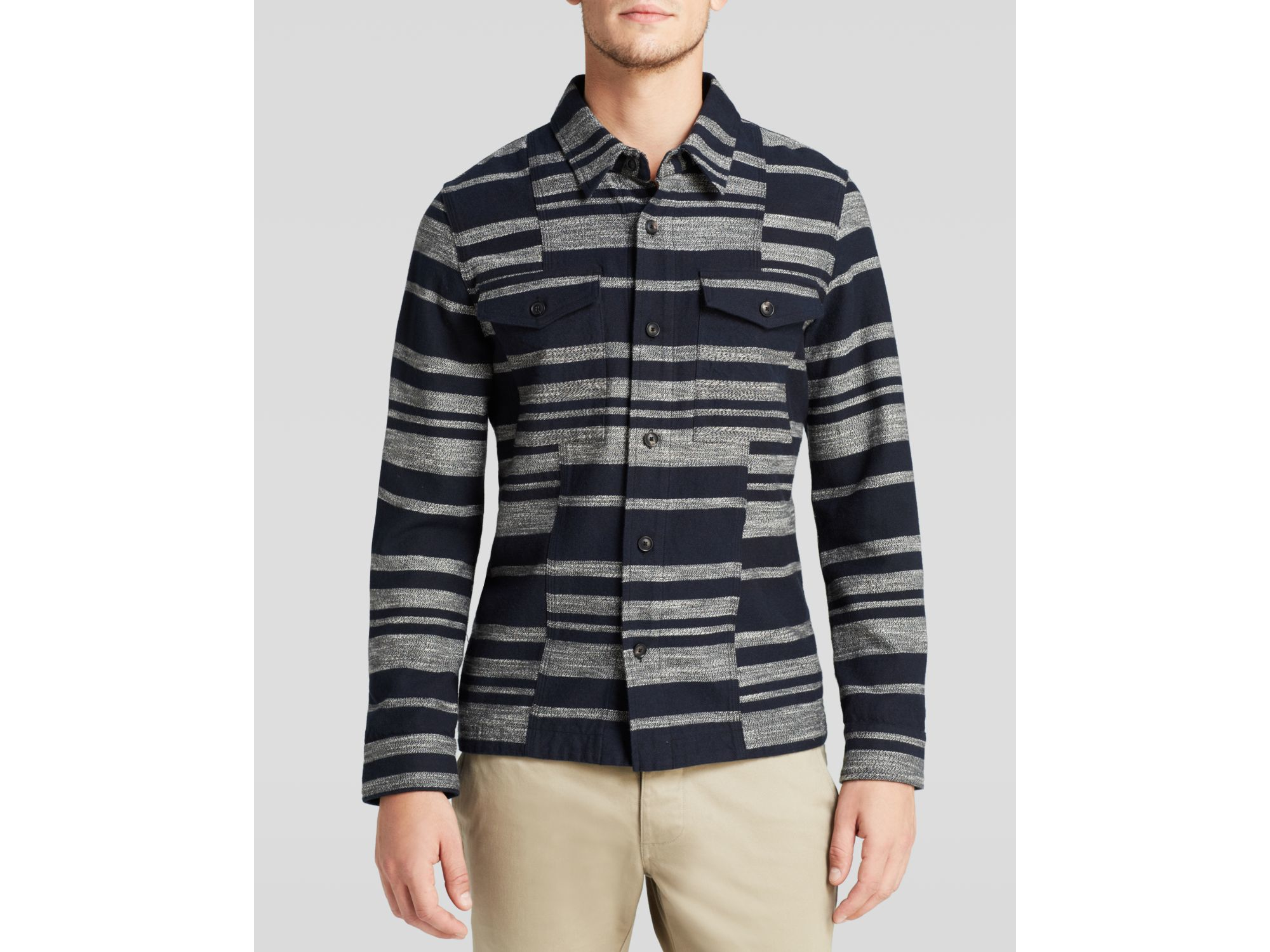 Wings + Horns Dusk Stripe Shirt Jacket in Navy/Grey (Blue) for Men
