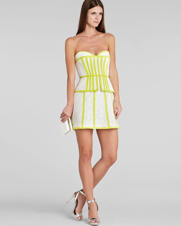 Bcbgmaxazria Bcbg Max Azria Dress Strapless Lace Peplum In