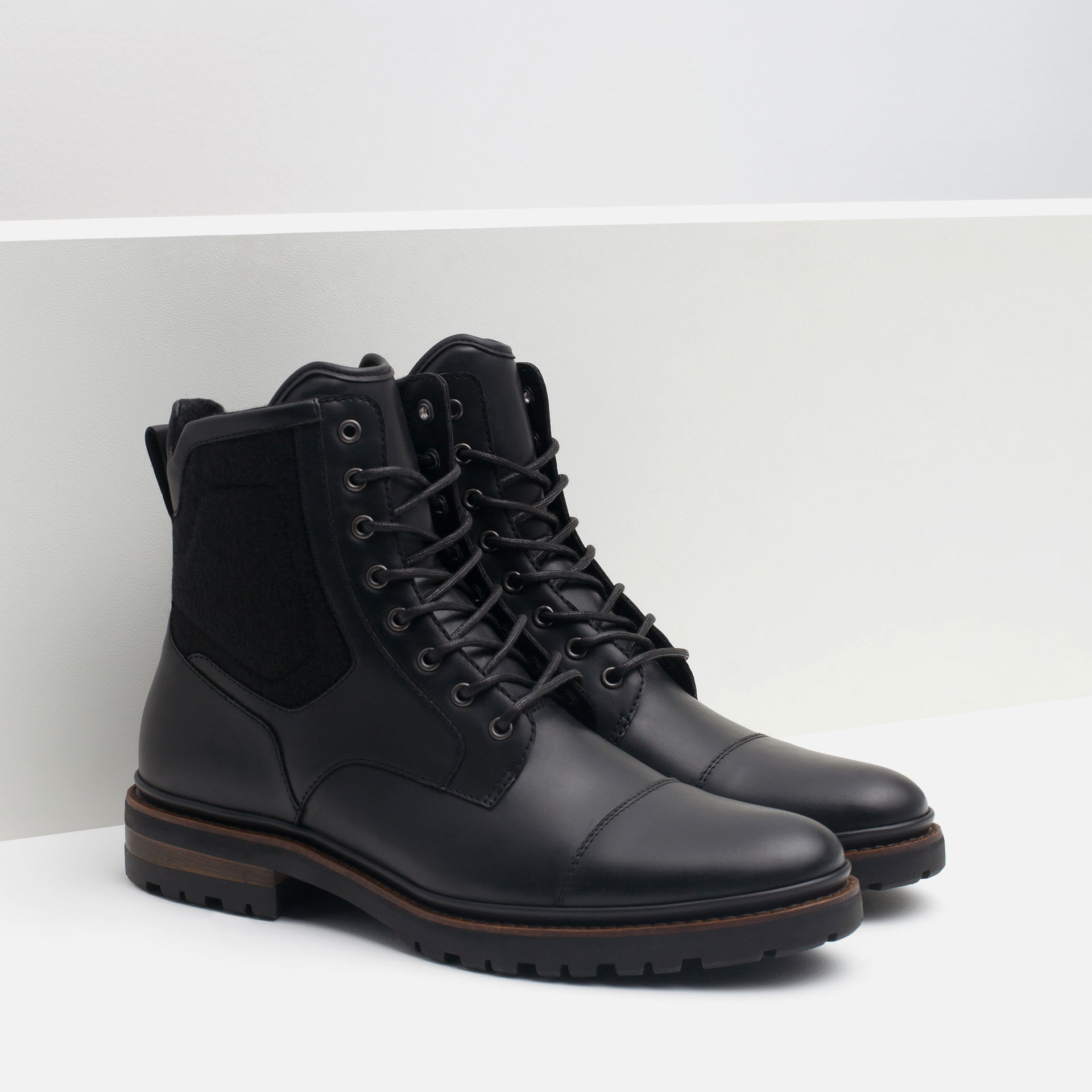Zara Contrast Boots With Grip Sole In Black For Men Lyst