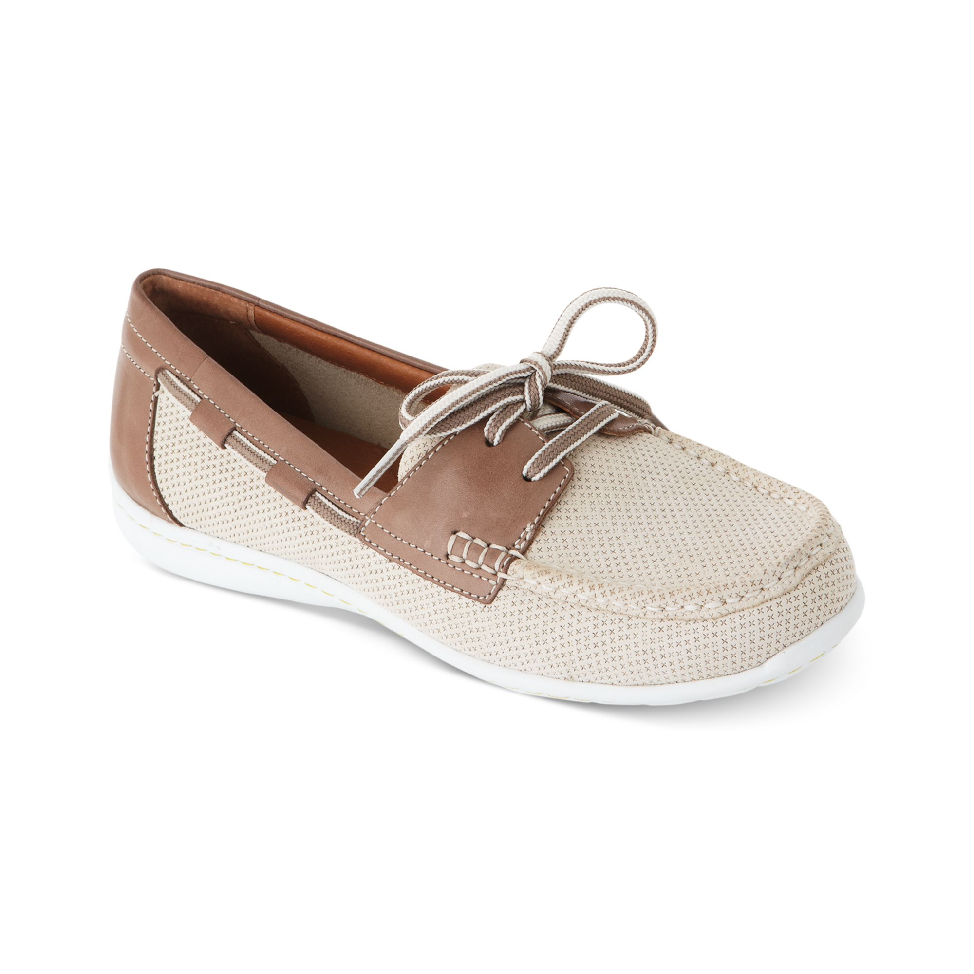 Clarks Womens Clifforse Sail Boat Shoes in Brown (OFF WHTIE