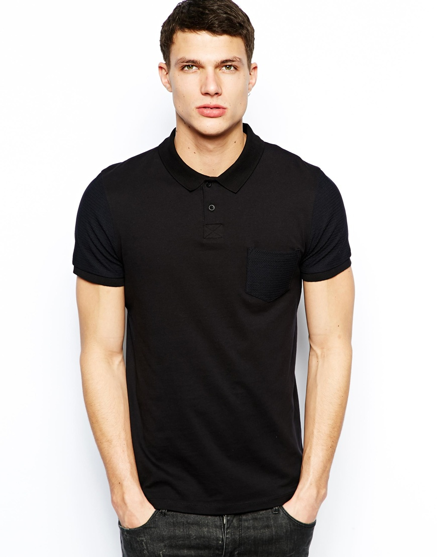 Asos Polo With Mesh Pocket And Sleeve In Black For Men Lyst