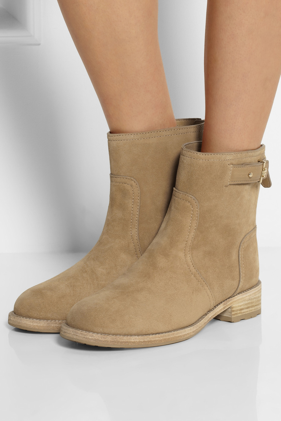 Tory Burch Selena Suede Ankle Boots In Brown Lyst