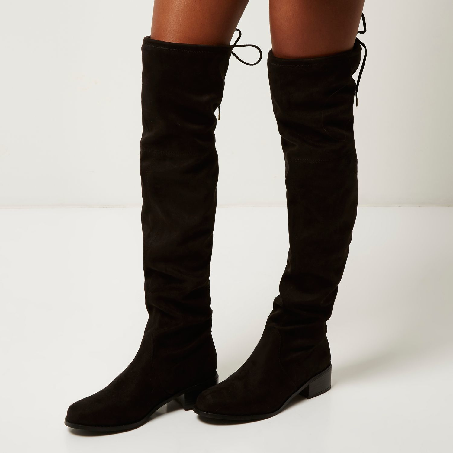582dc47577 River Island Black Tie Back Over The Knee Boots in Black - Lyst
