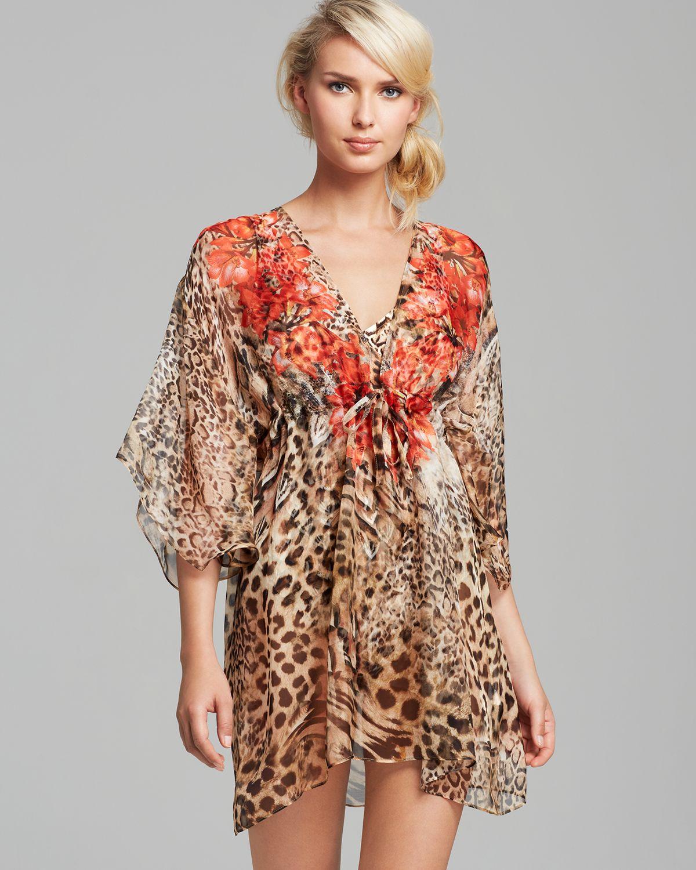 c152eea6a9541 Gottex Maculato Silk Leopard-Print Coverup Beach Dress in Brown - Lyst