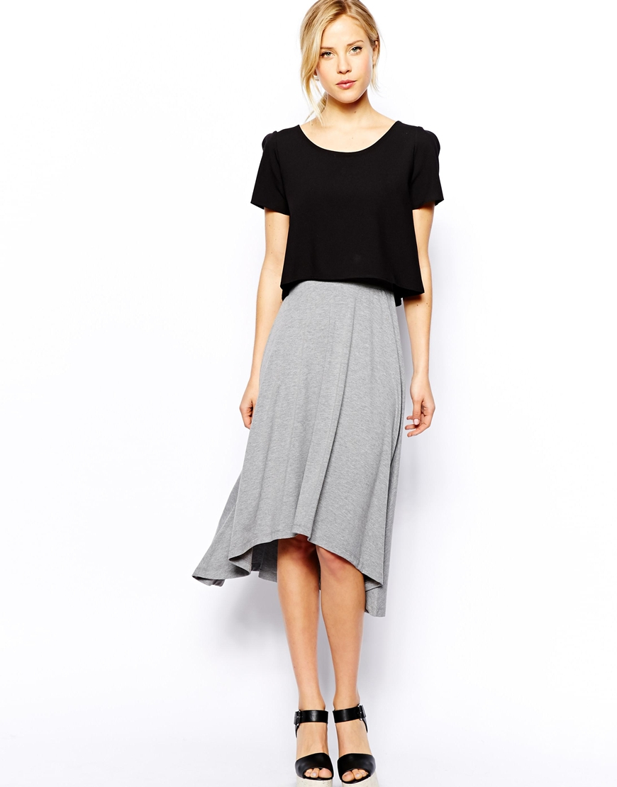 Asos Midi Skirt with High Low Hem in Gray | Lyst